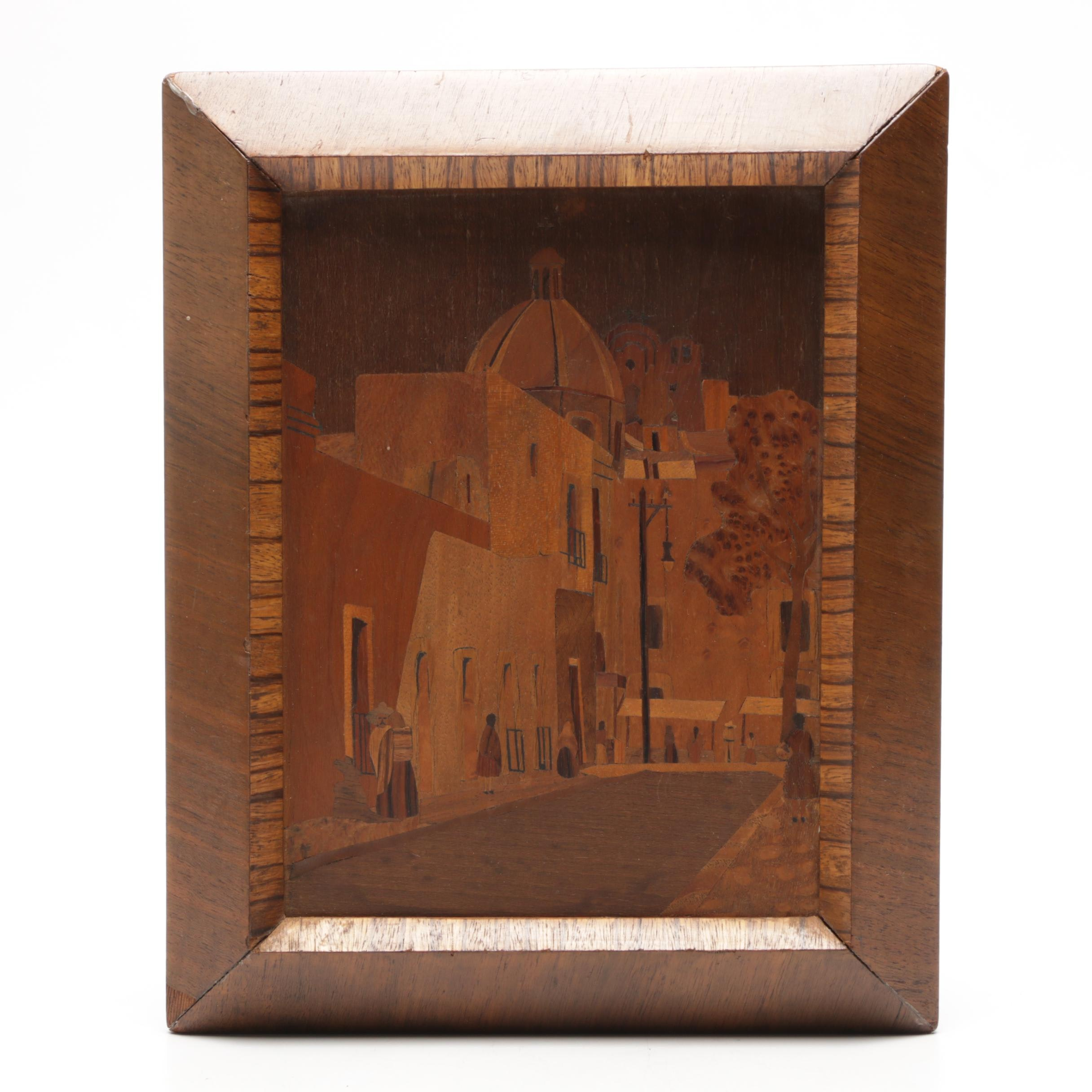 Mexican Wooden Inlaid Marquetry Panel of Street Scene