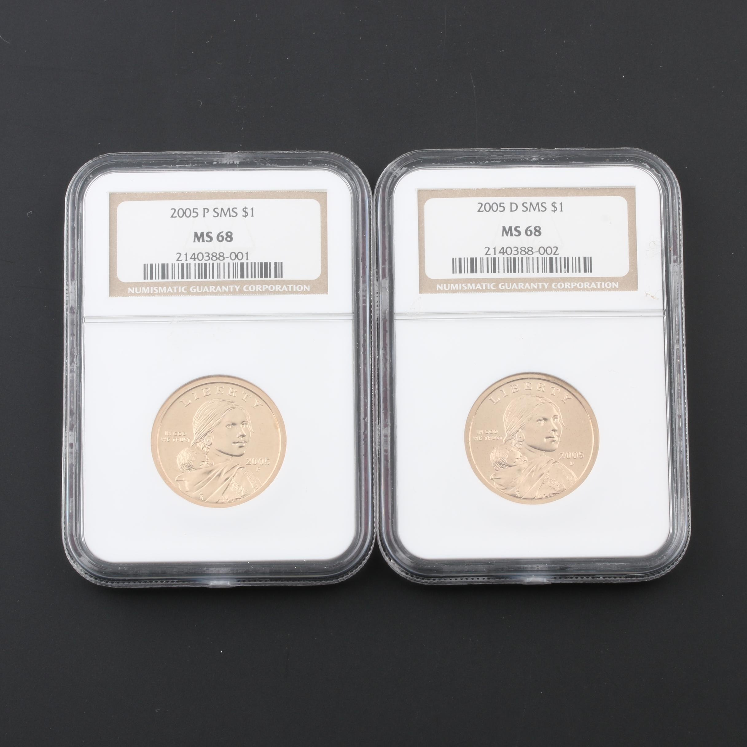 Two NGC Graded MS68 Sacagawea Dollars