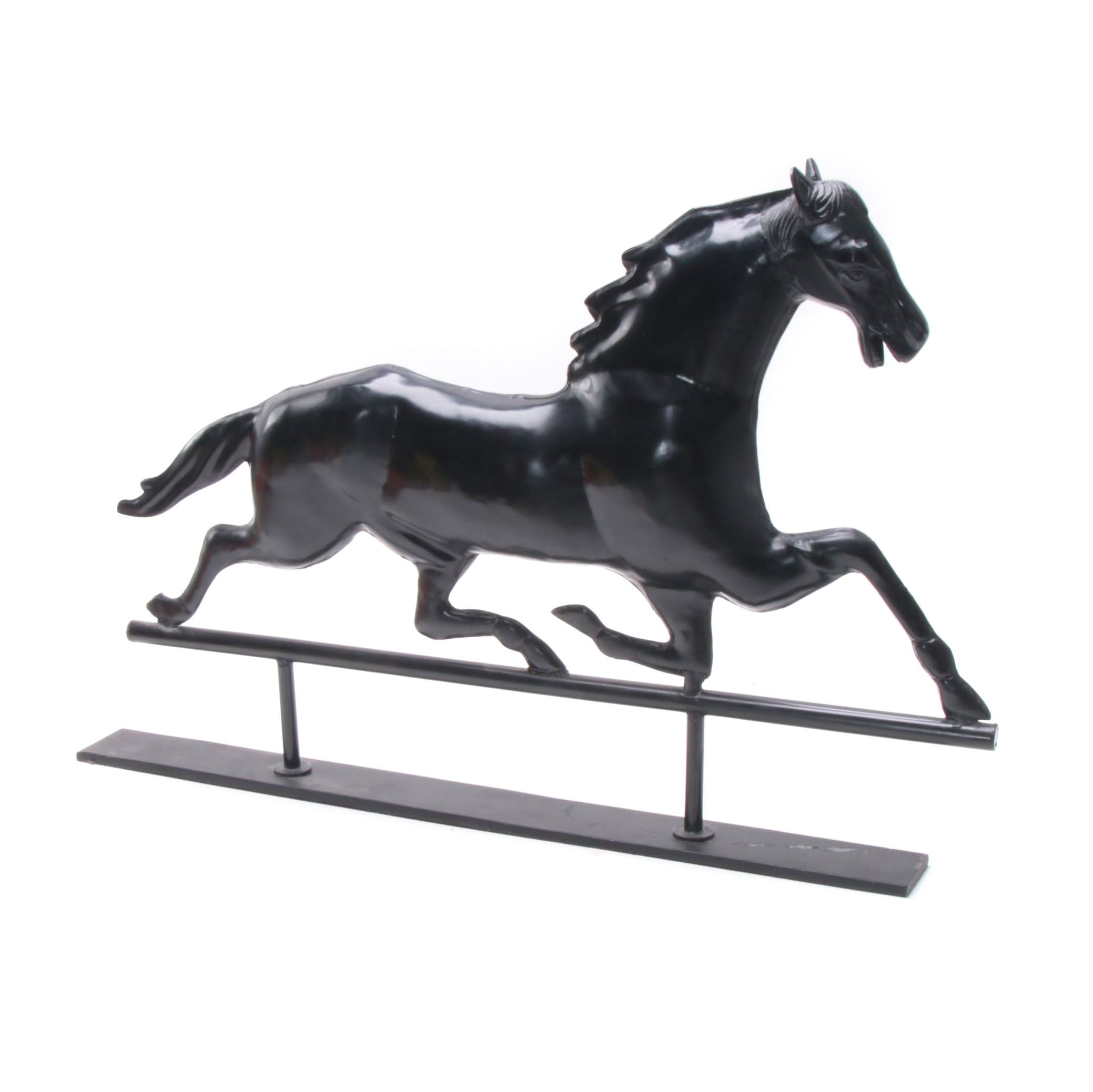Grandin Road Painted Metal Equestrian Weathervane on Stand
