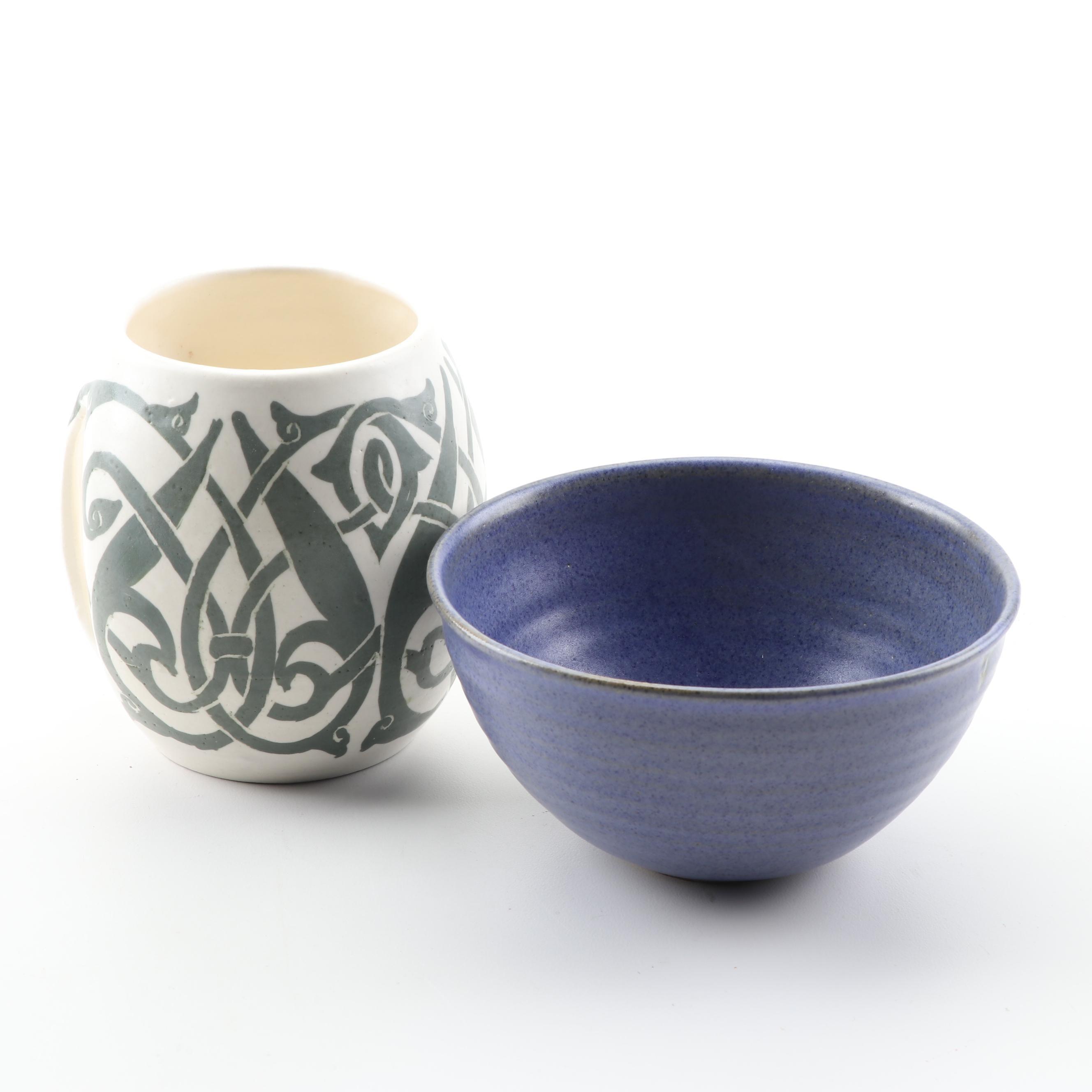 Dabbikeh Stoneware Mug with Cobalt Wheel Thrown Stoneware Bowl