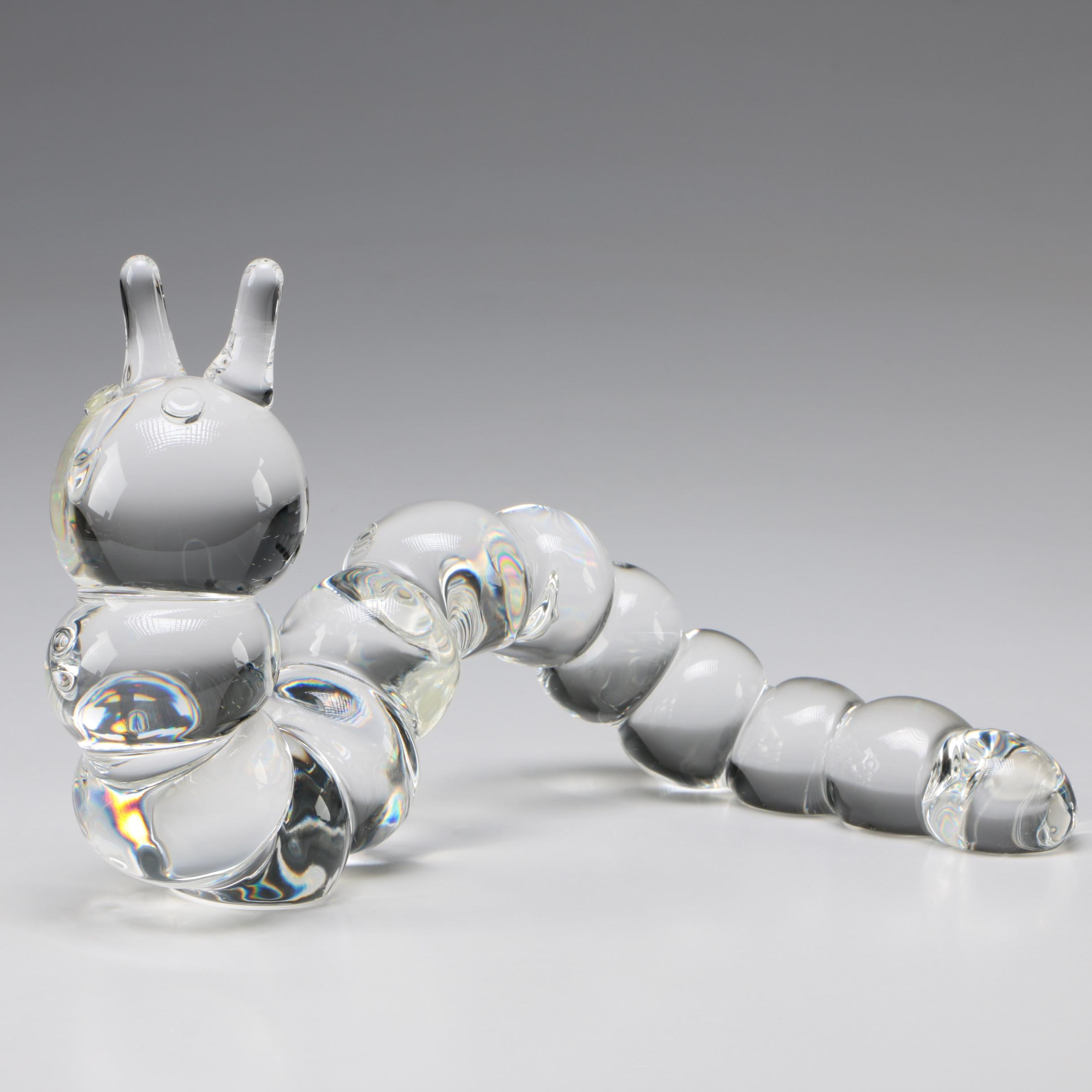 "Steuben Art Glass ""Caterpillar"" Designed by Peter Yenawine, Late 20th Century"
