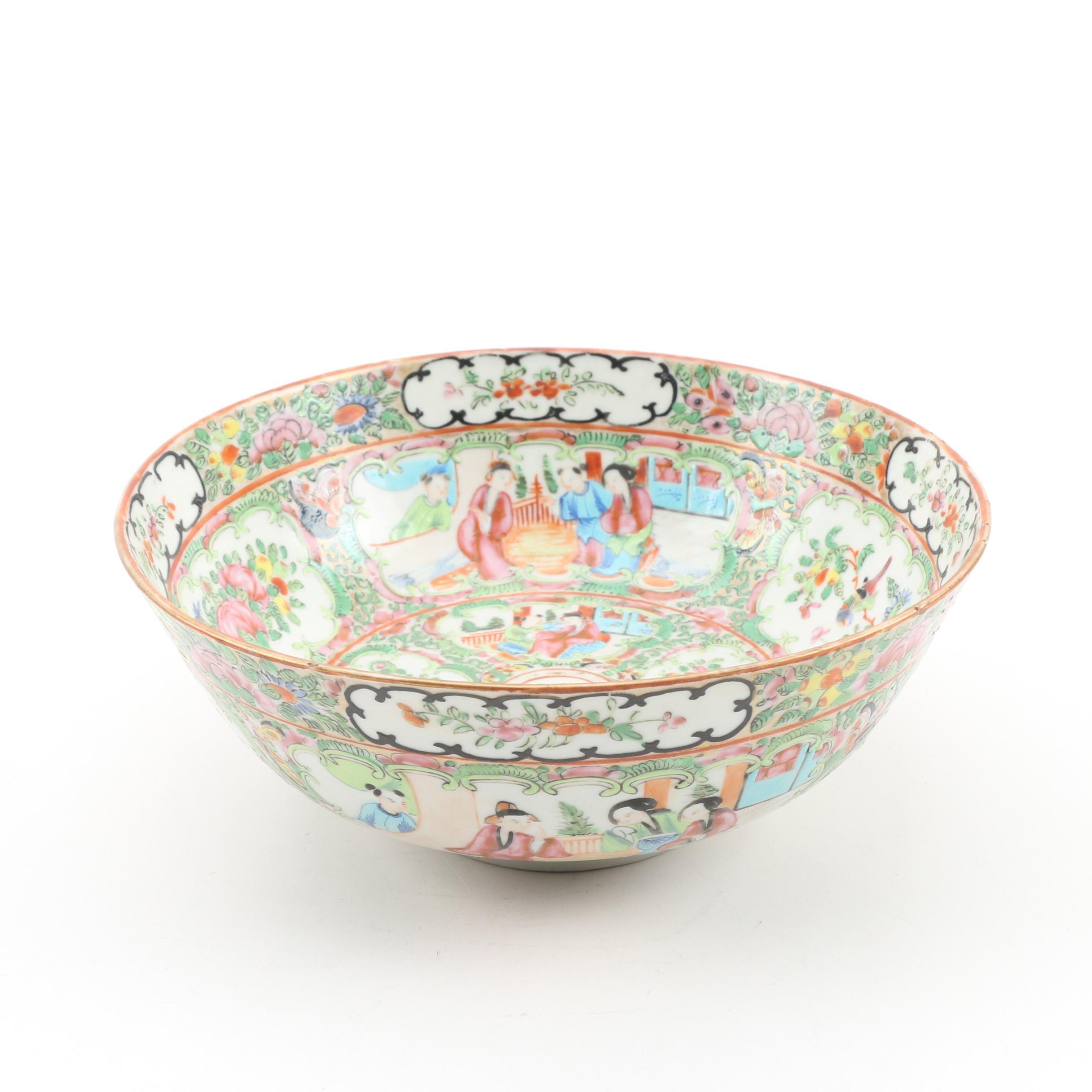 "Chinese ""Rose Medallion"" Porcelain Bowl, Mid-Century"
