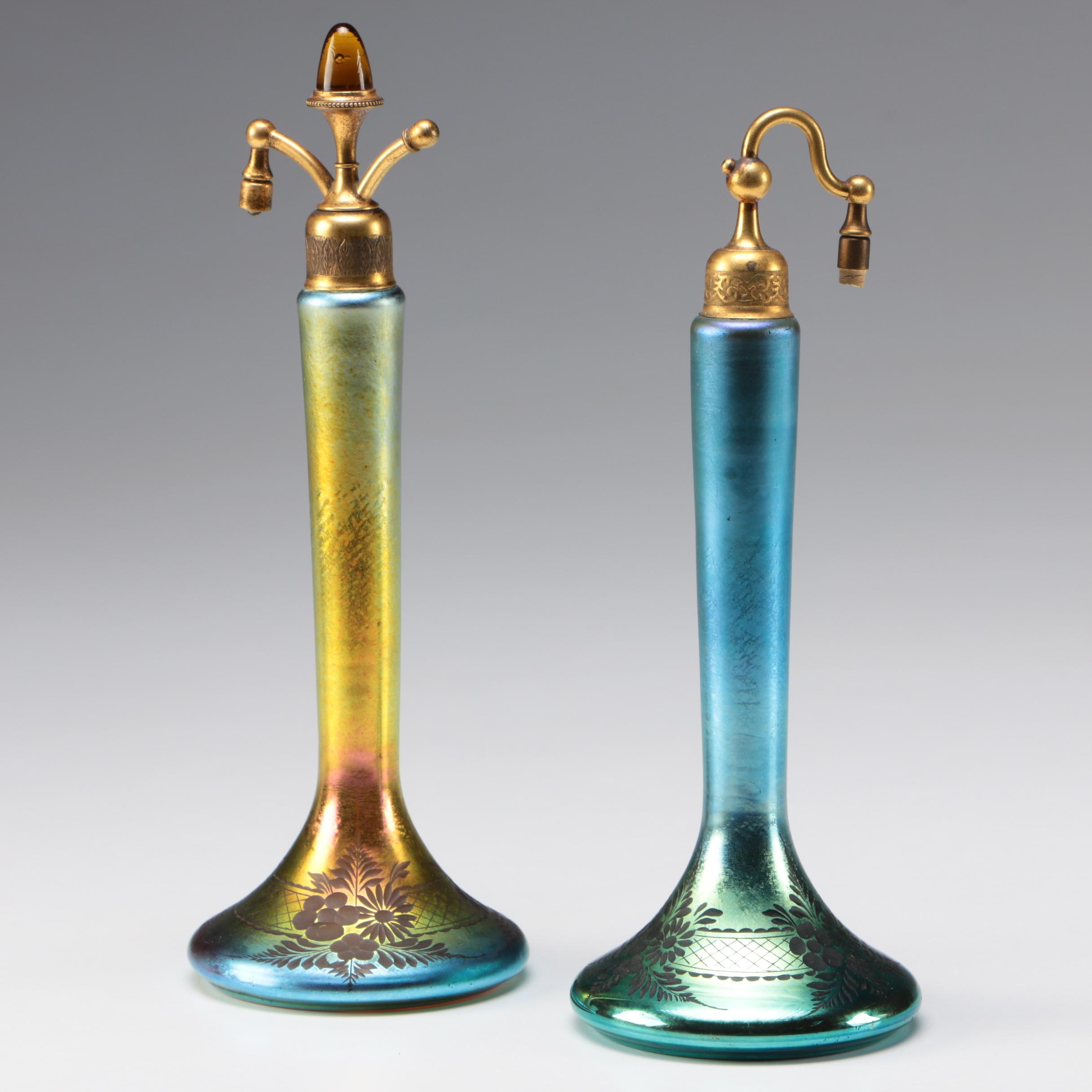 Steuben Blue and Gold Aurene DeVilbiss Art Glass Atomizers, Early 20th Century