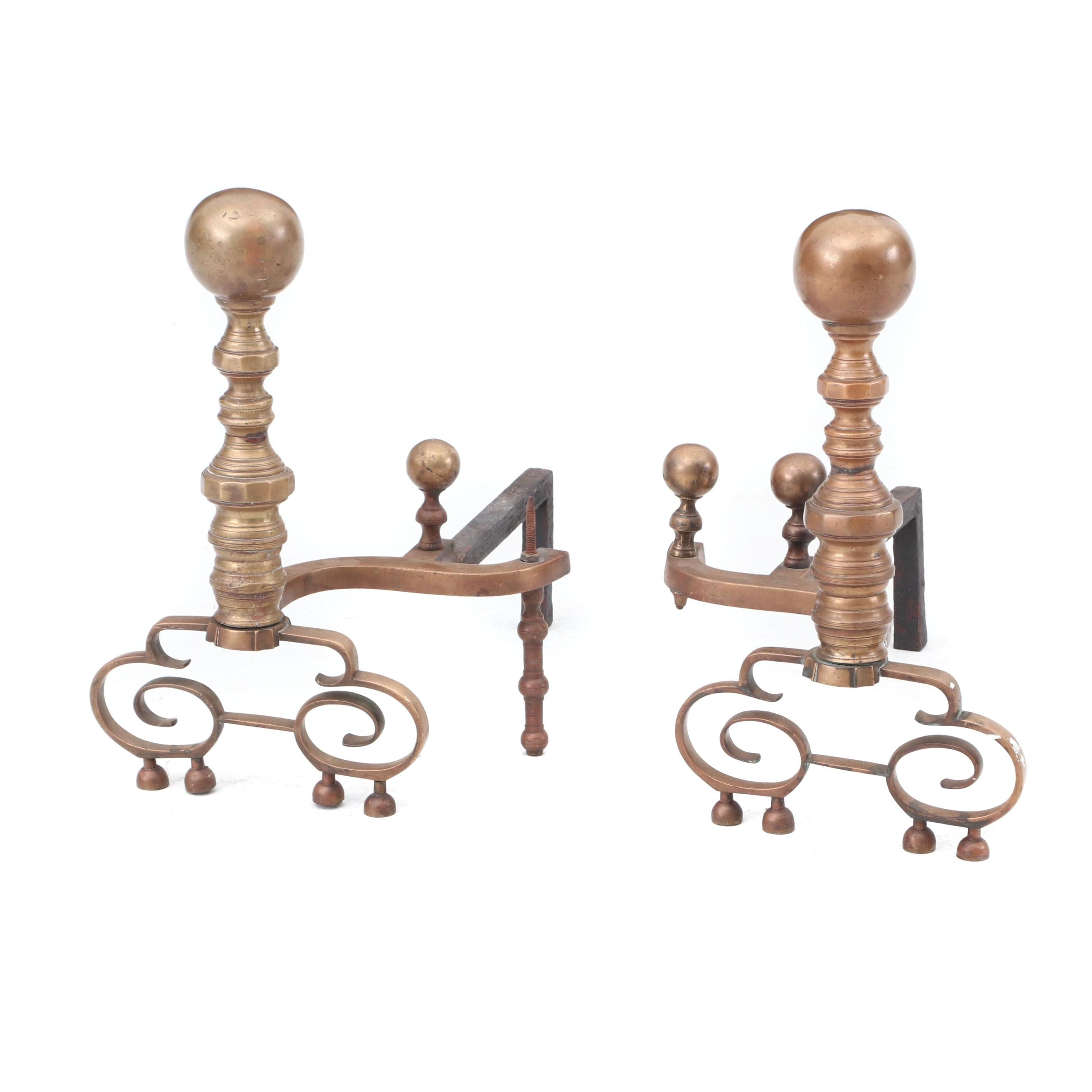 Victorian Style Brass Ball Top Andirons, Early 20th Century