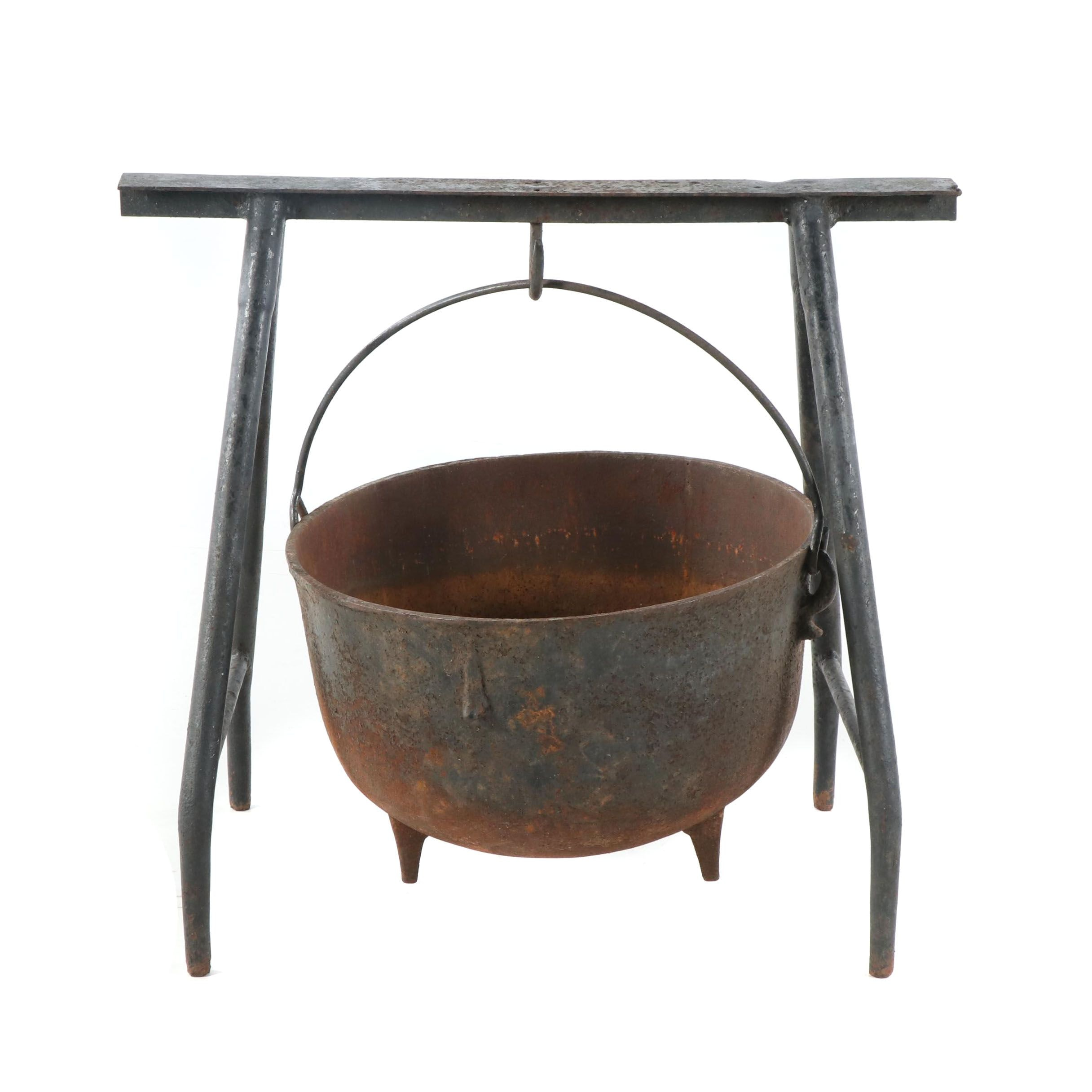 Cast Iron Cauldron and Stand, Early 20th Century
