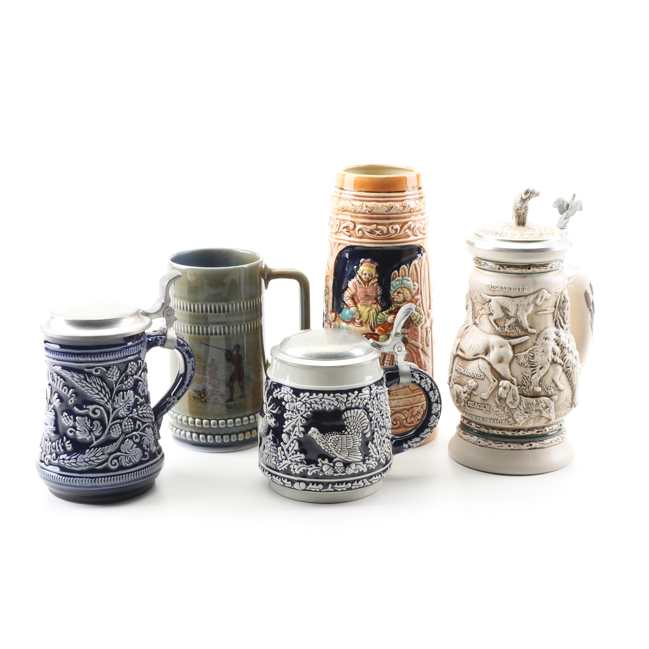 Beer Steins Including Avon and Irish Porcelain