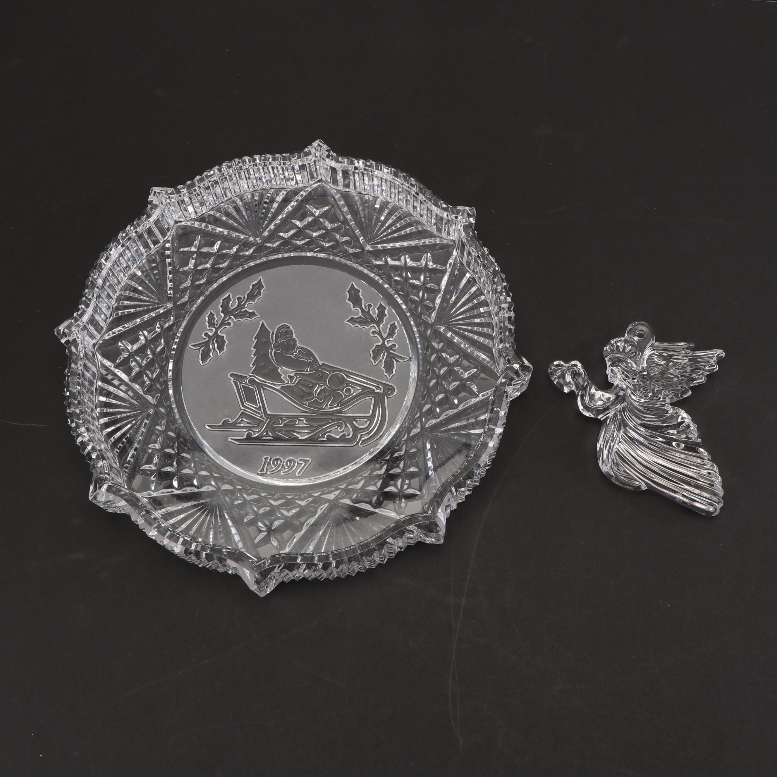 "Waterford Crystal Angel Ornament and 1997 ""Songs of Christmas"" Plate"