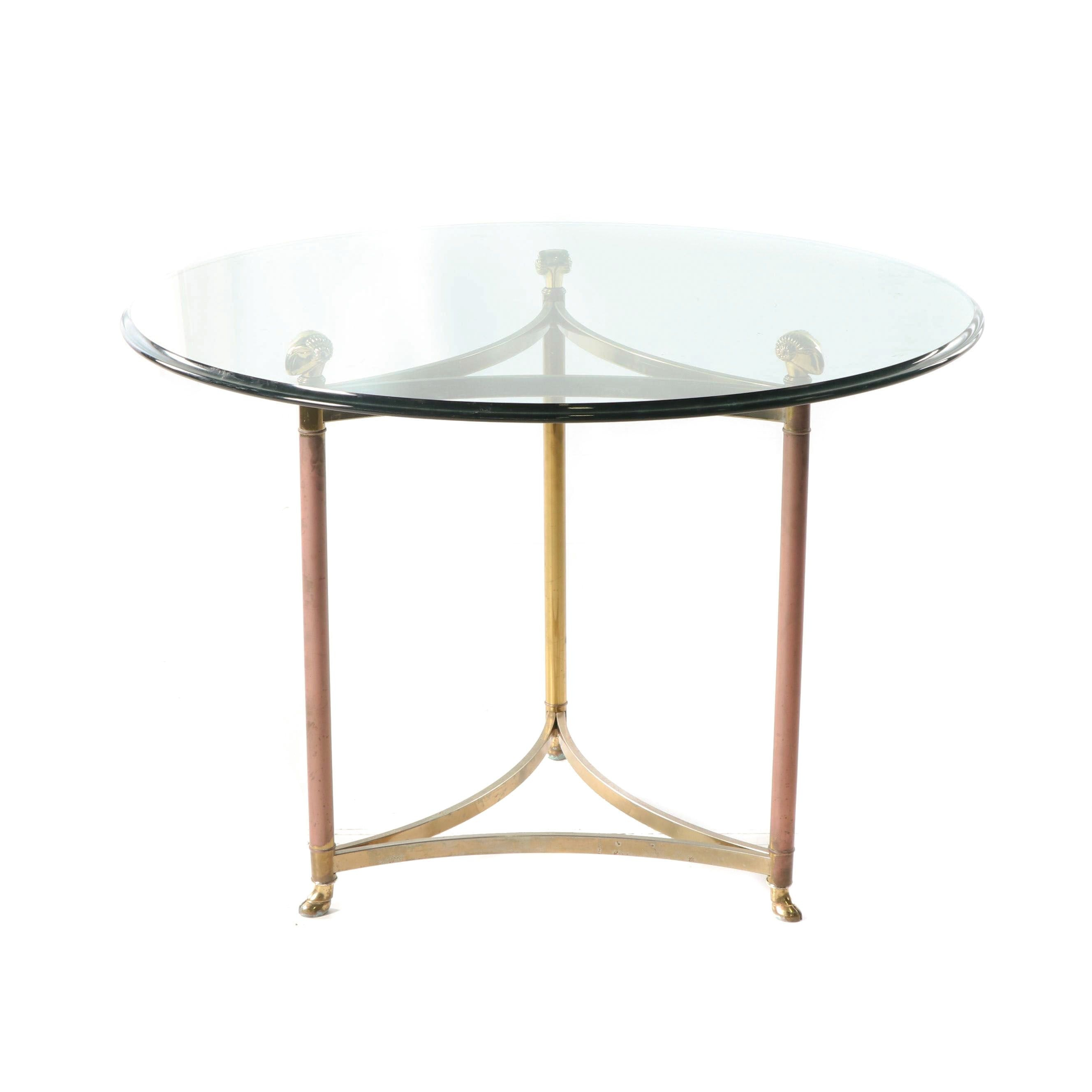 Regency Style Goat Motif Brass and Glass Dinette Table, 20th Century