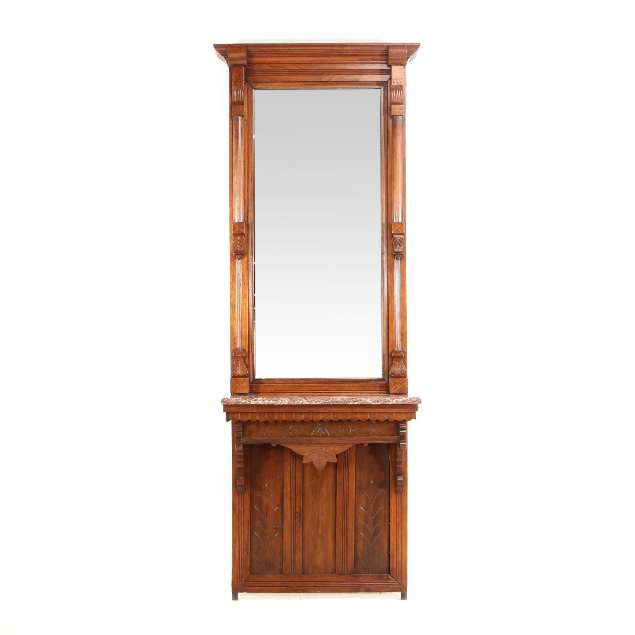 Victorian Walnut and Red Marble Pier Mirror, Late 19th Century