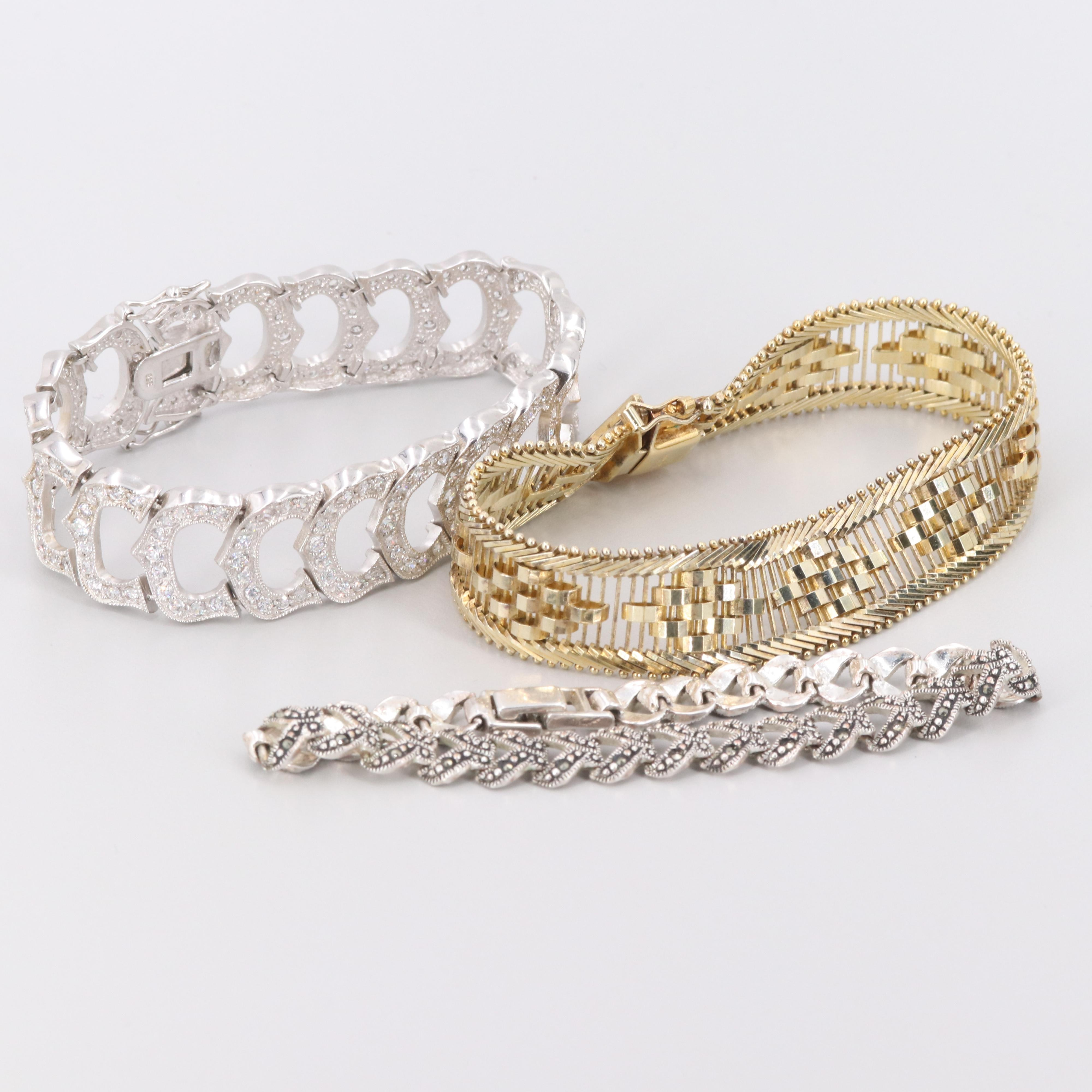 Sterling Silver and Silver Tone Cubic Zirconia and Marcasite Bracelets