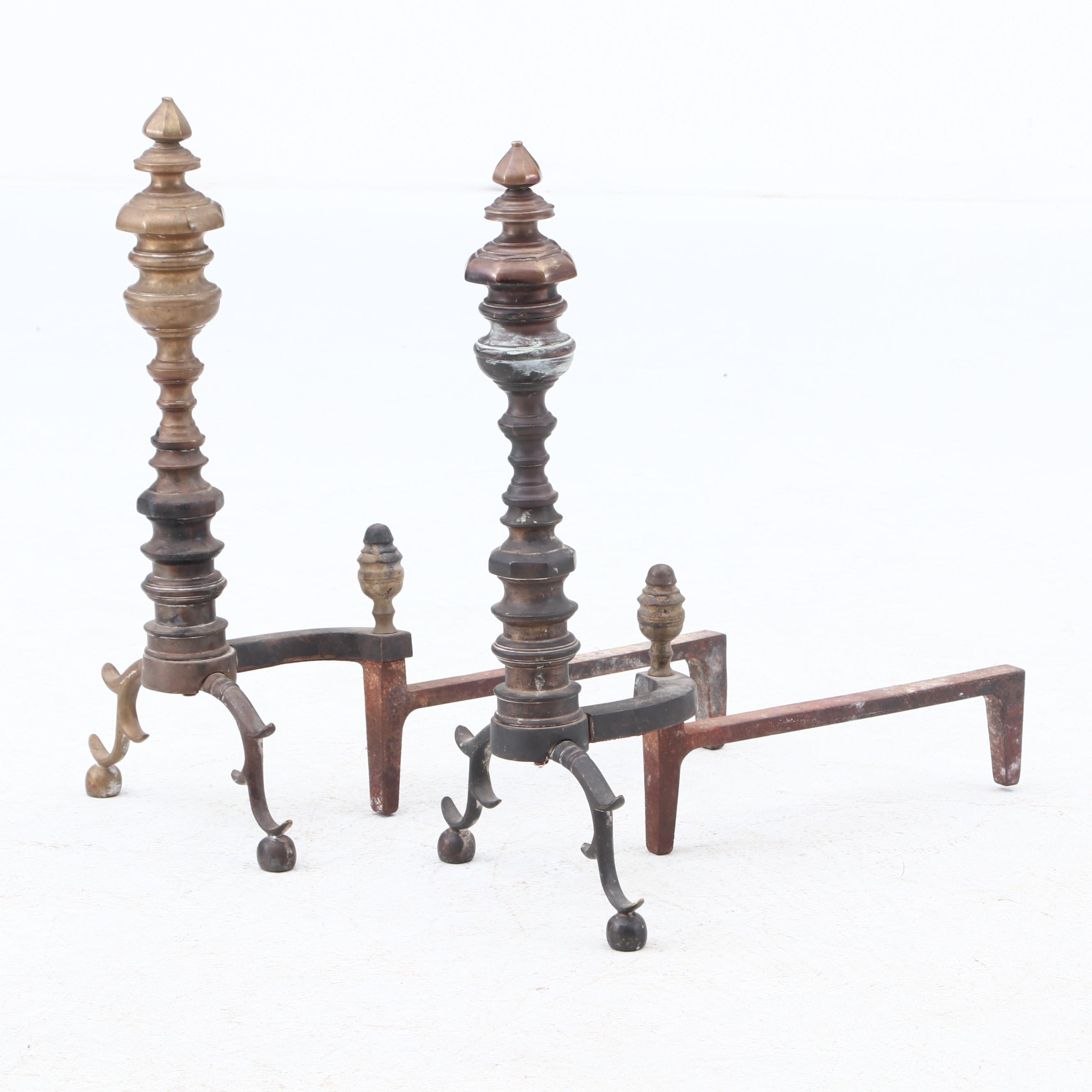 Marvin Co. Brass Turret Top Andirons, Early 20th Century