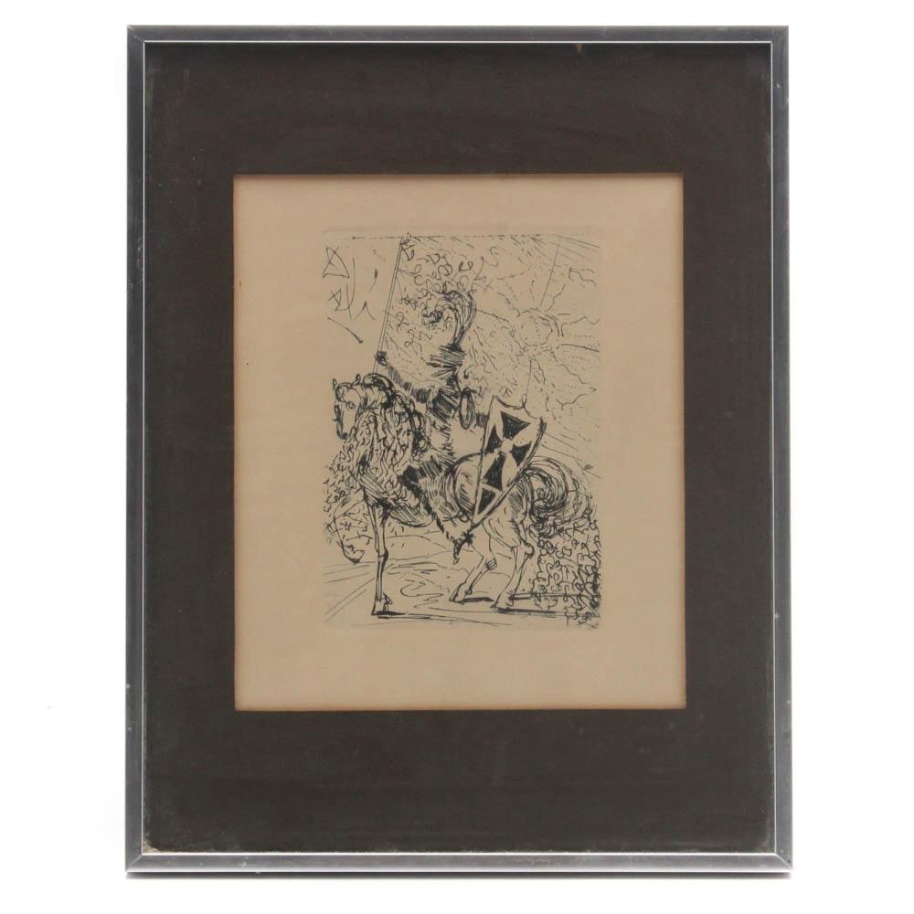 """Salvador Dalí Restrike Etching """"El Cid"""""""