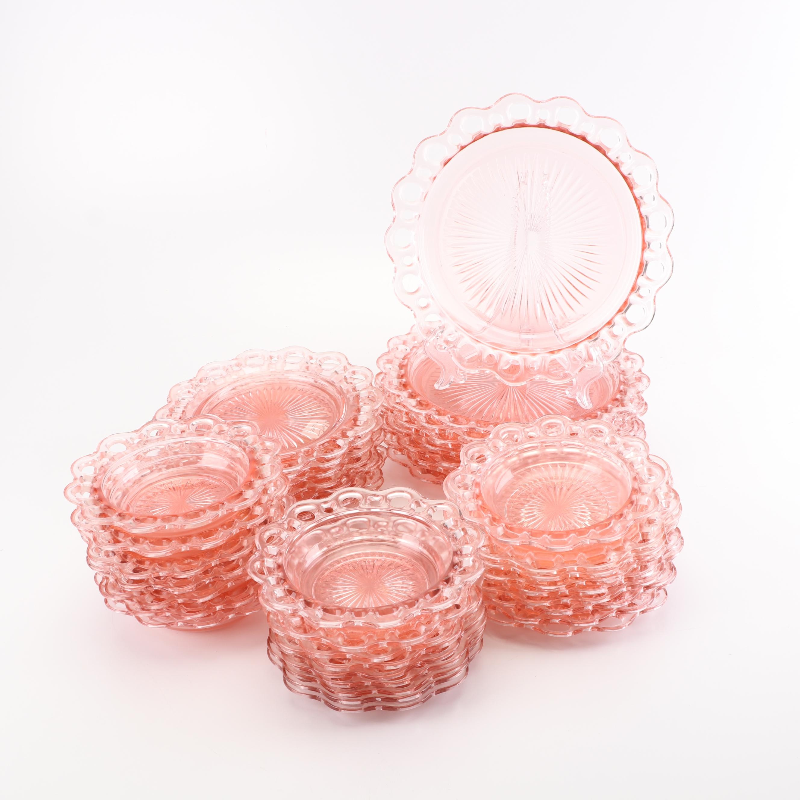 "Depression Glass ""Lace Edge Pink"" Dinnerware by Anchor Hocking"