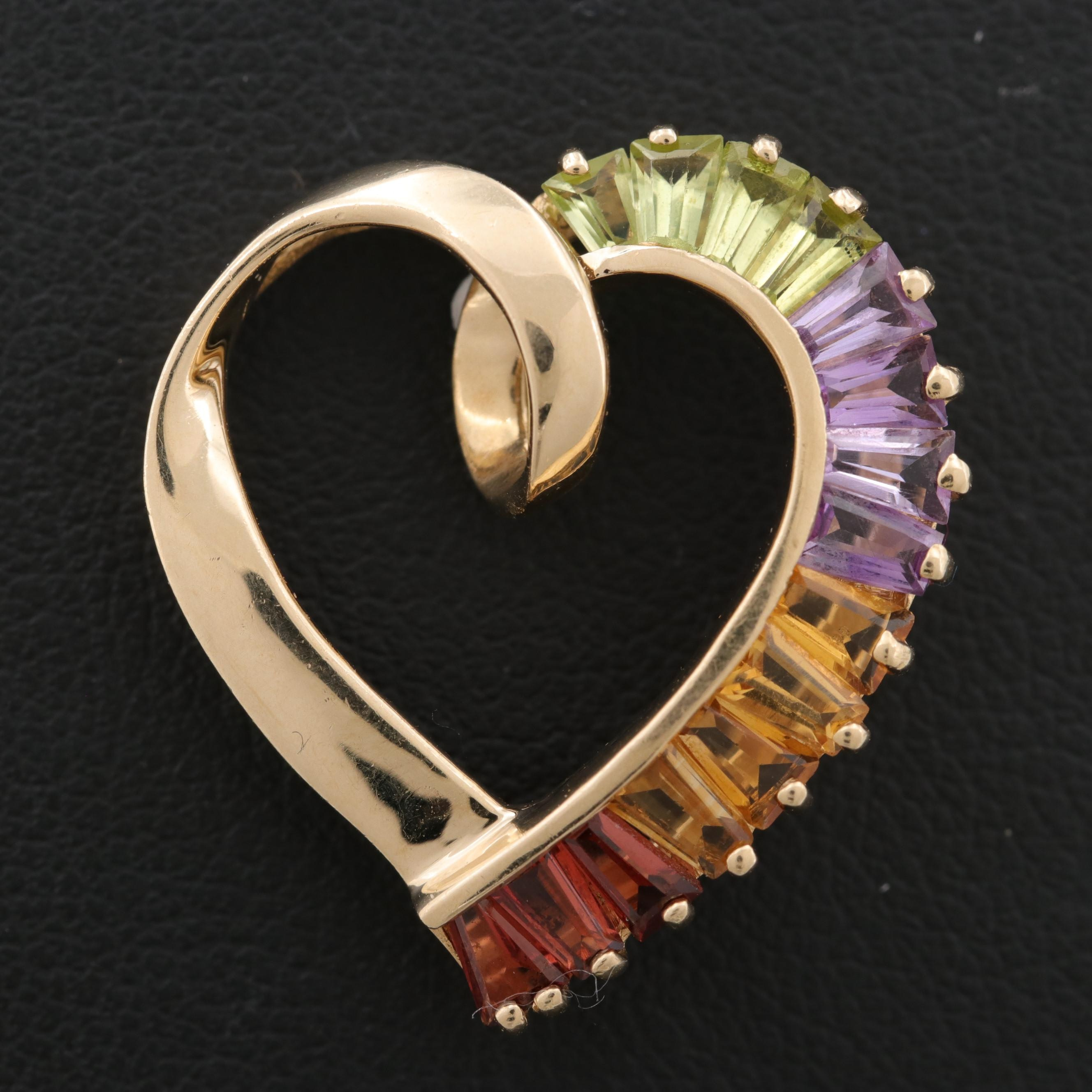 14K Yellow Gold Garnet, Citrine, Peridot, and Amethyst Heart Slide Pendant