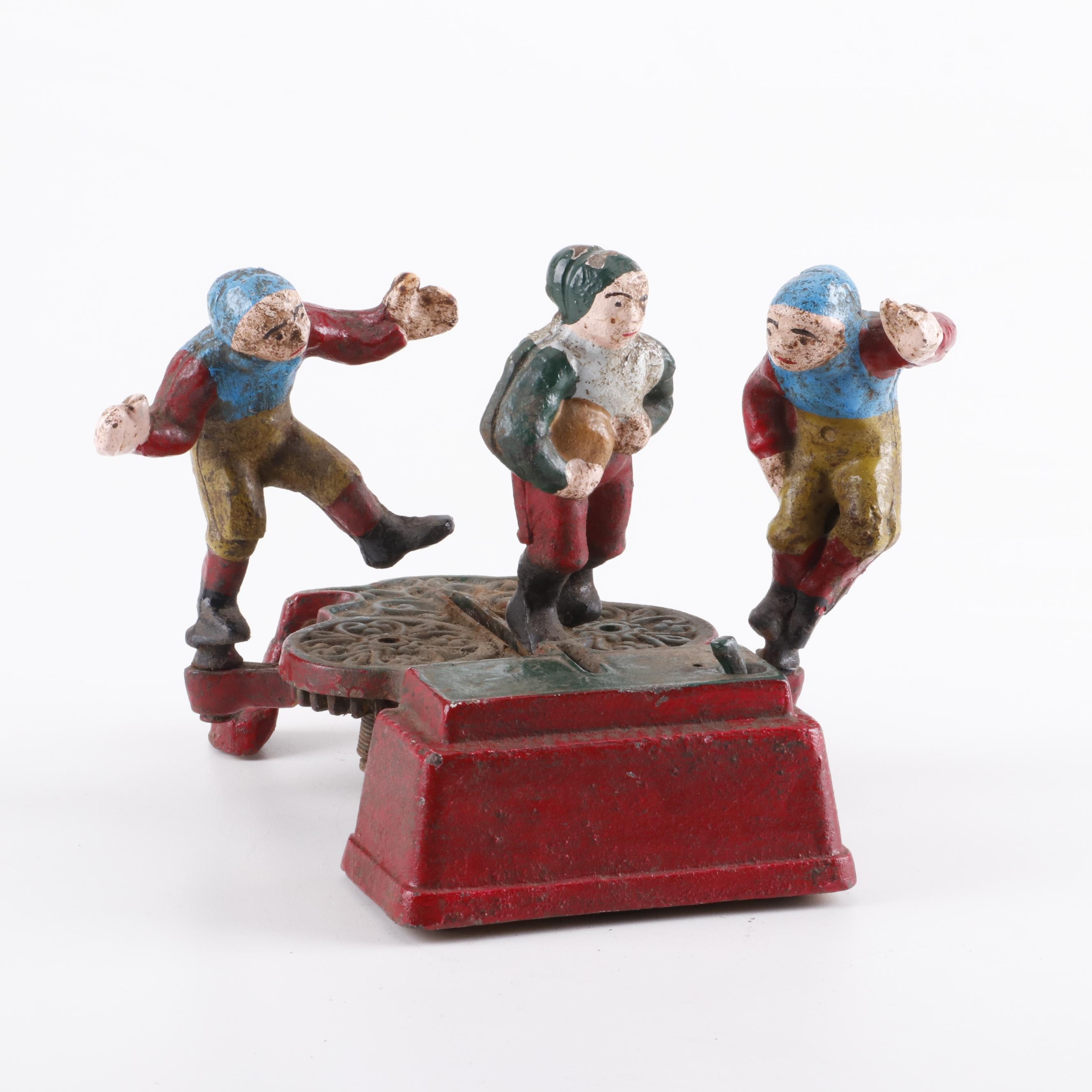 Reproduction Cast Iron Football Player Mechanical Coin Bank