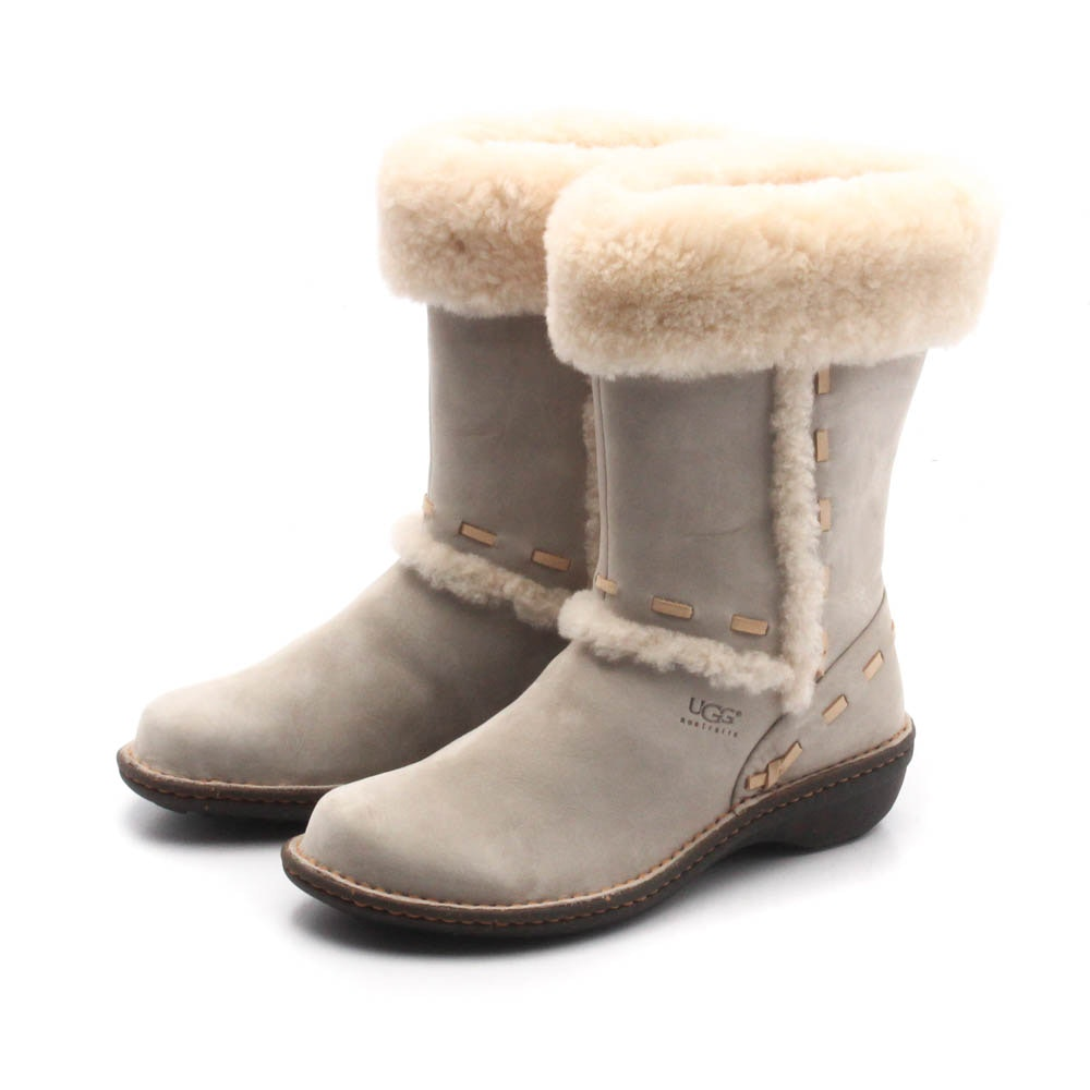 Women's UGG Grey Sheepskin and Shearling Boots with Accent Stitching