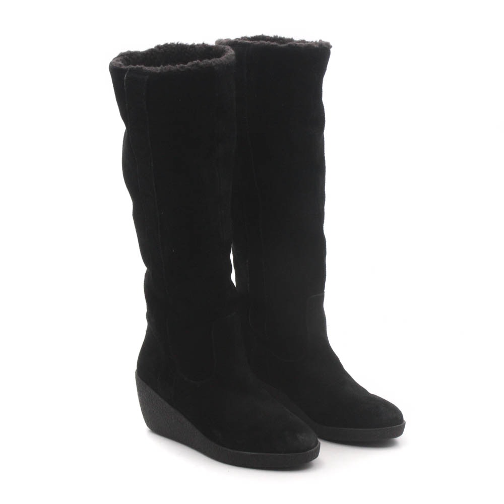 Women's Ann Taylor Black Suede and Faux Shearling Tall Wedge Boots