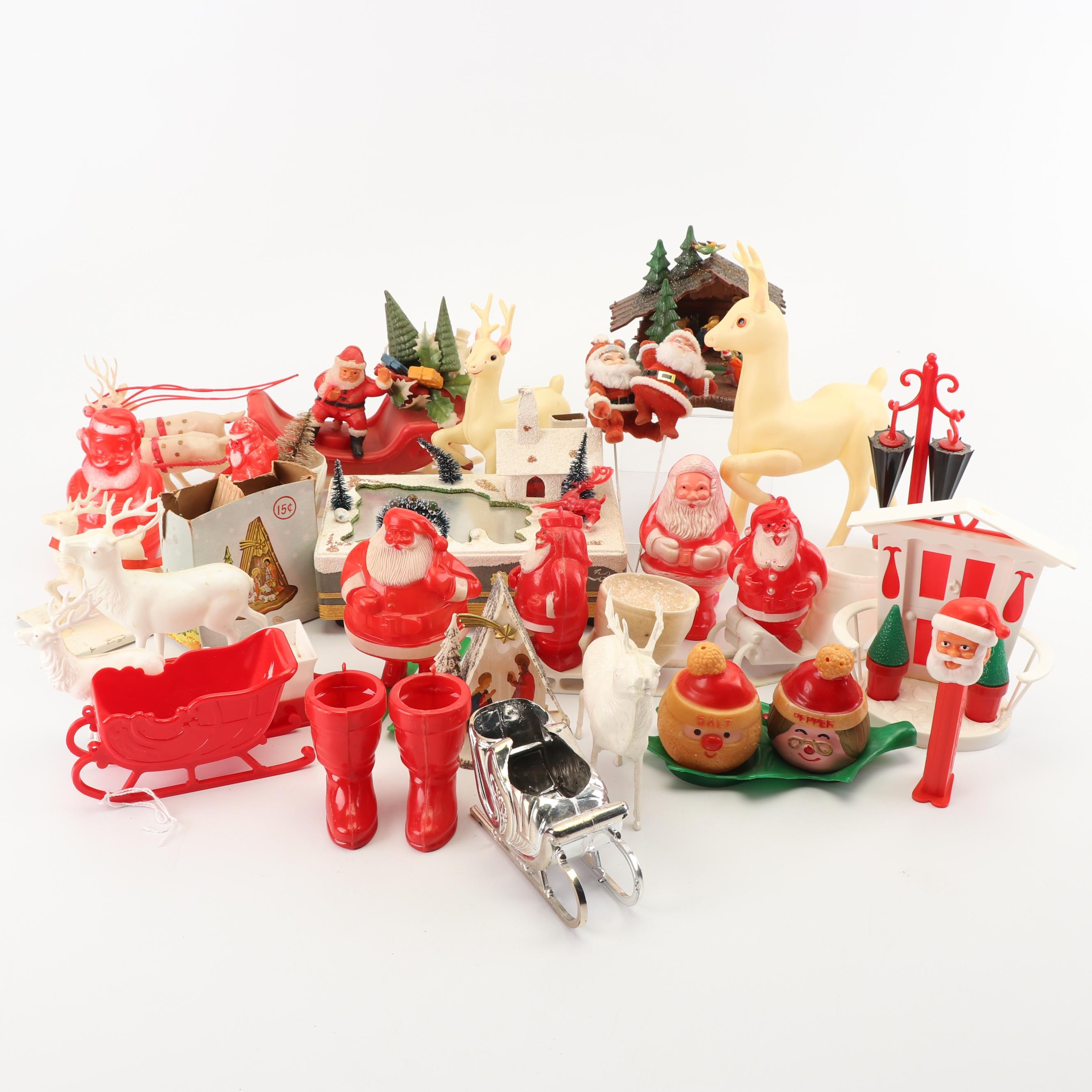 Plastic Christmas Decor, Mid Century