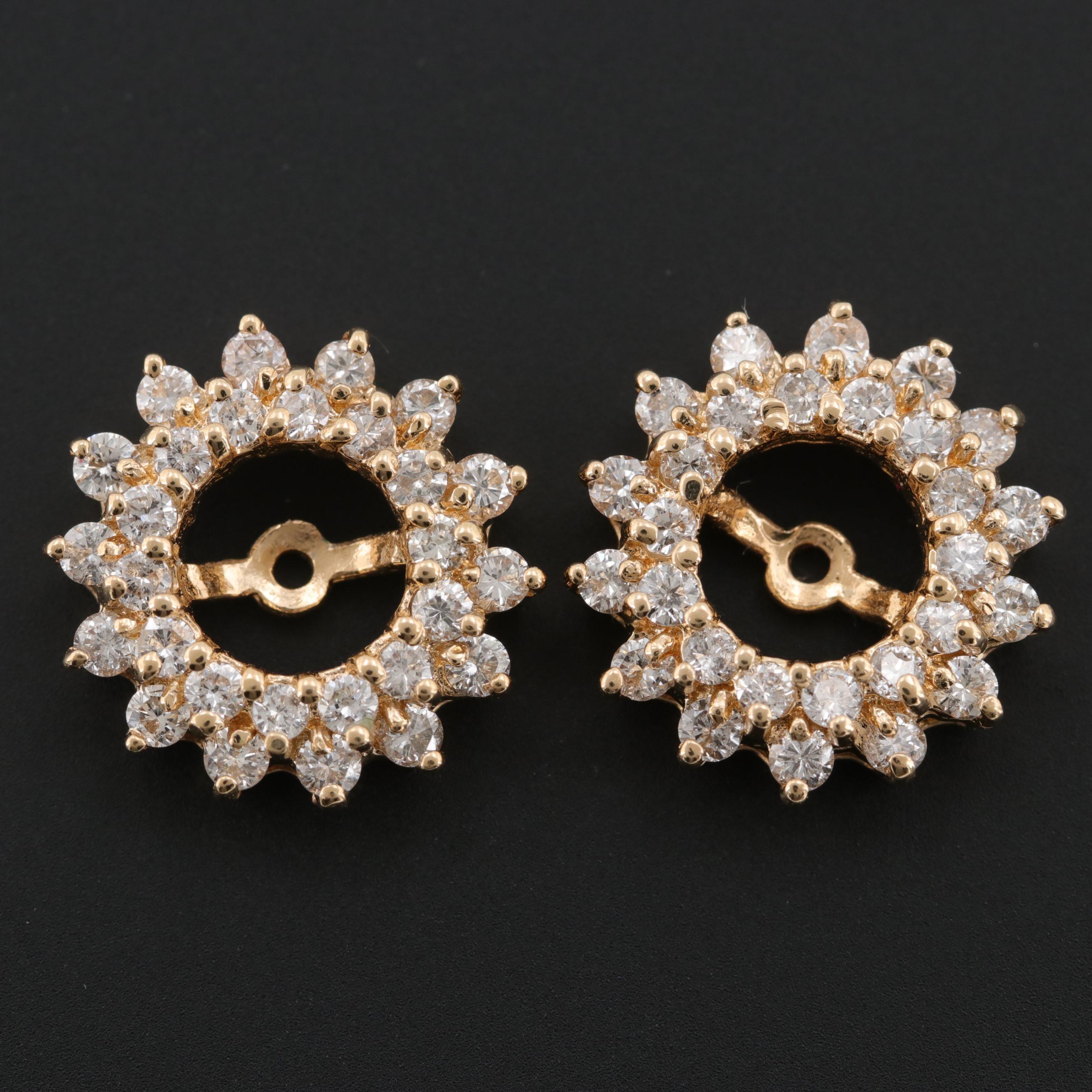 14K Yellow Gold 1.33 CTW Diamond Earring Jackets