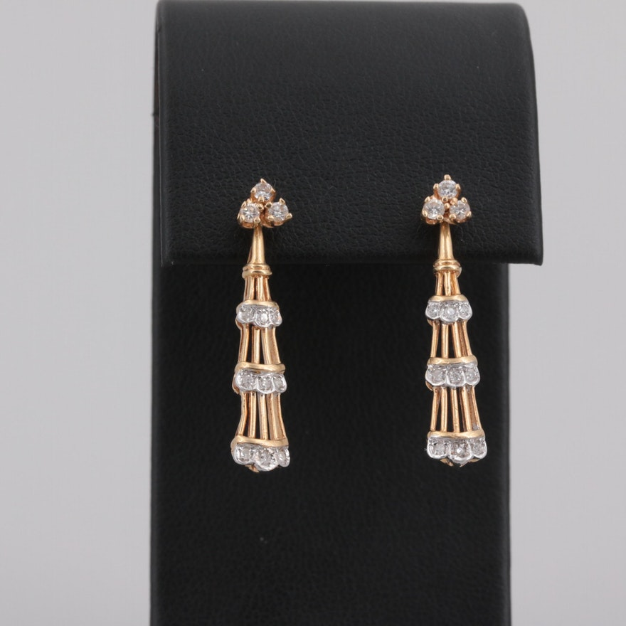 f87a6cdd0 14K Yellow Gold Diamond Stud Earrings and Jackets   EBTH