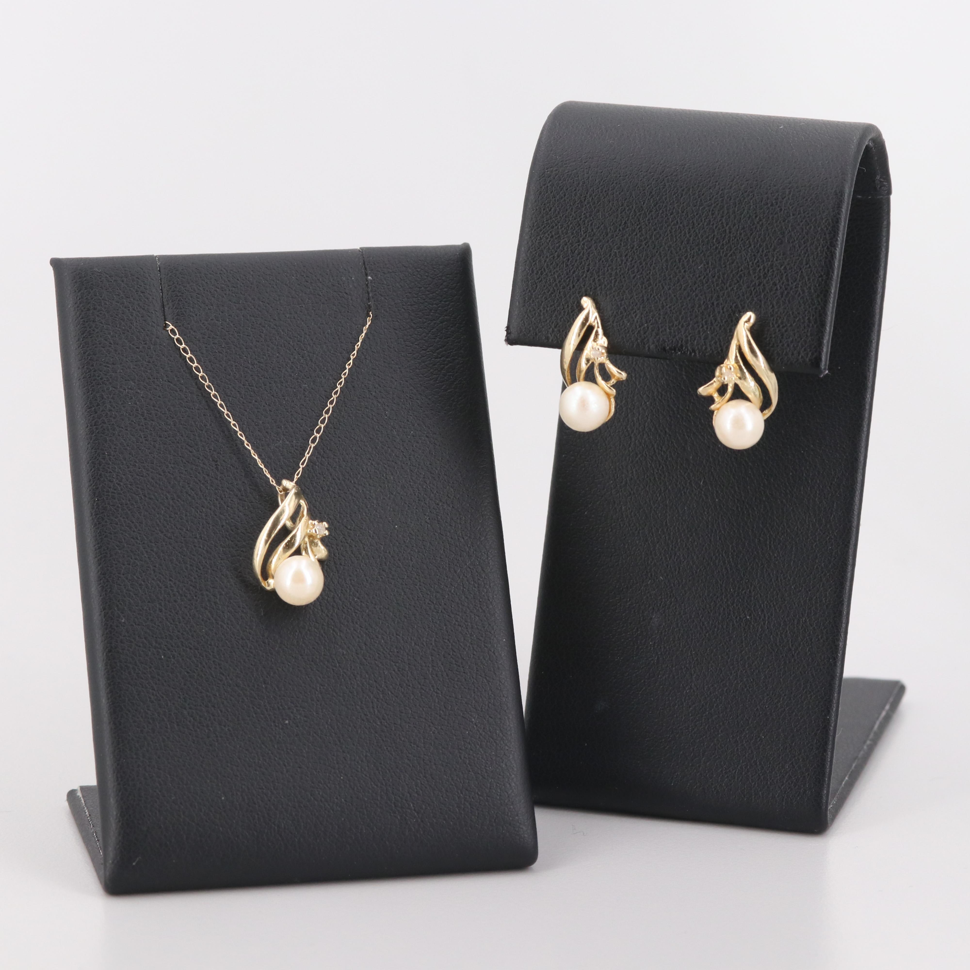10K and 14K Yellow Gold Gems Cultured Pearl and Diamond Necklace and Earring Set