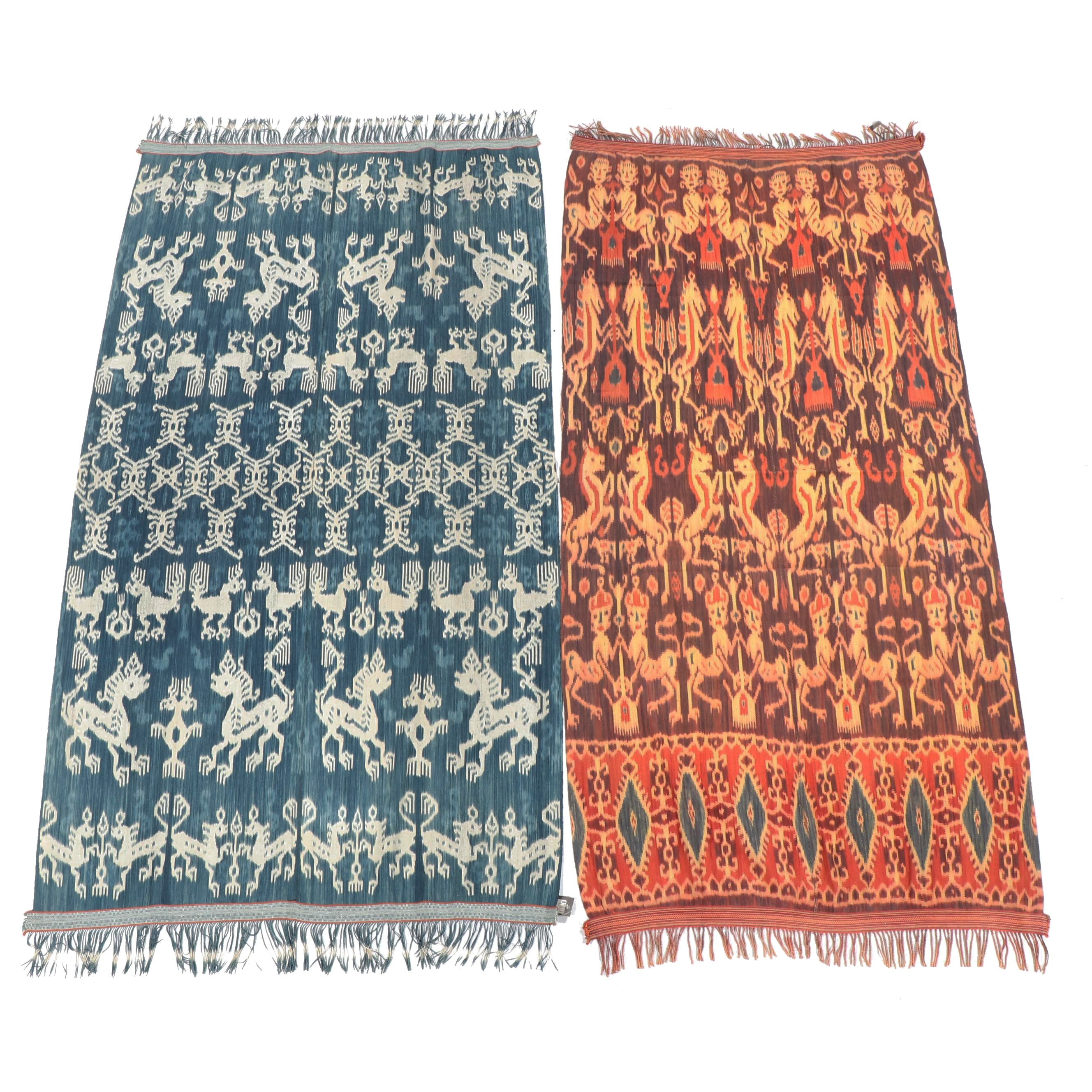 Handwoven Indonesian Pictorial Ikat Cotton Textiles