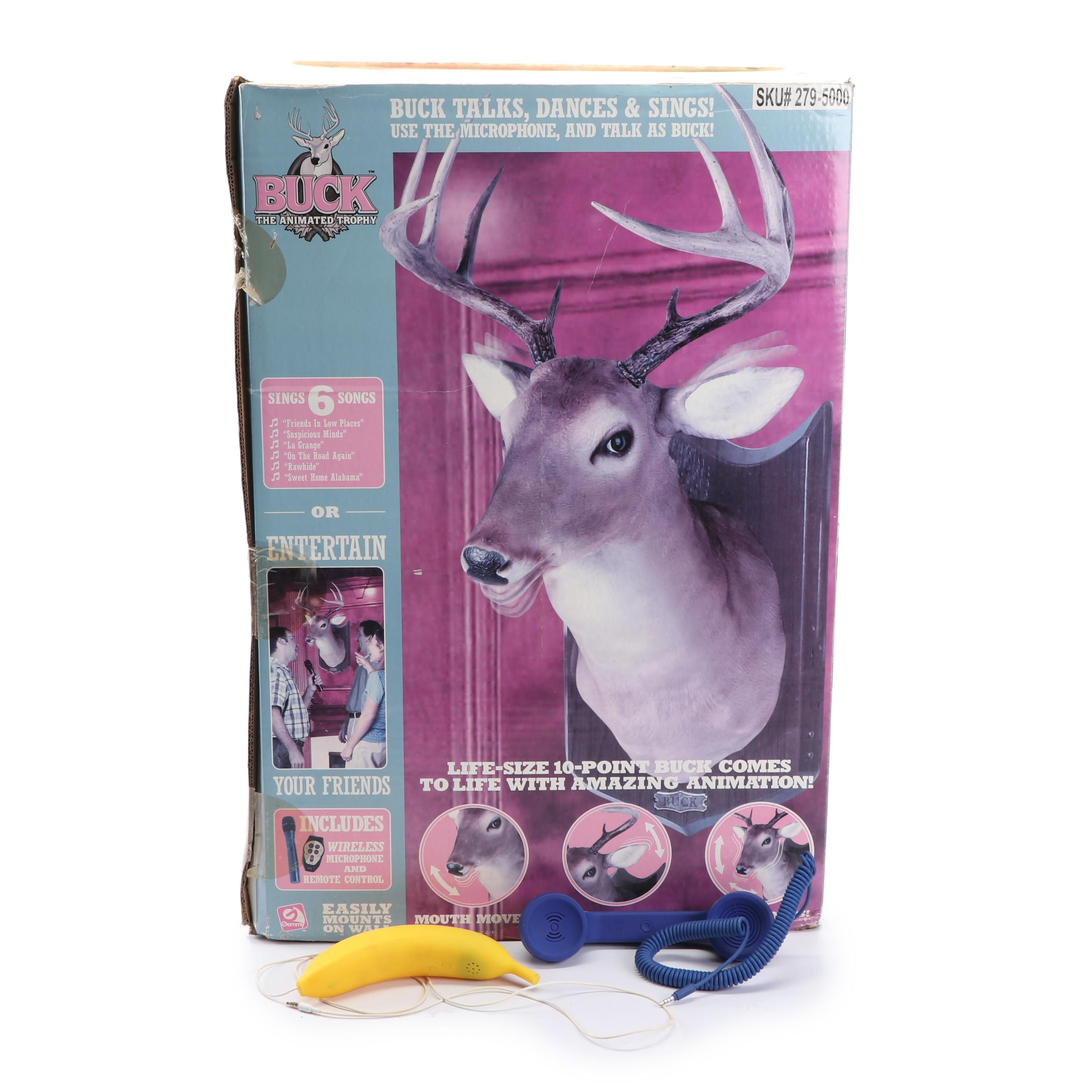 """Buck the Animated Trophy"" Interactive Toy with Phone Receivers"