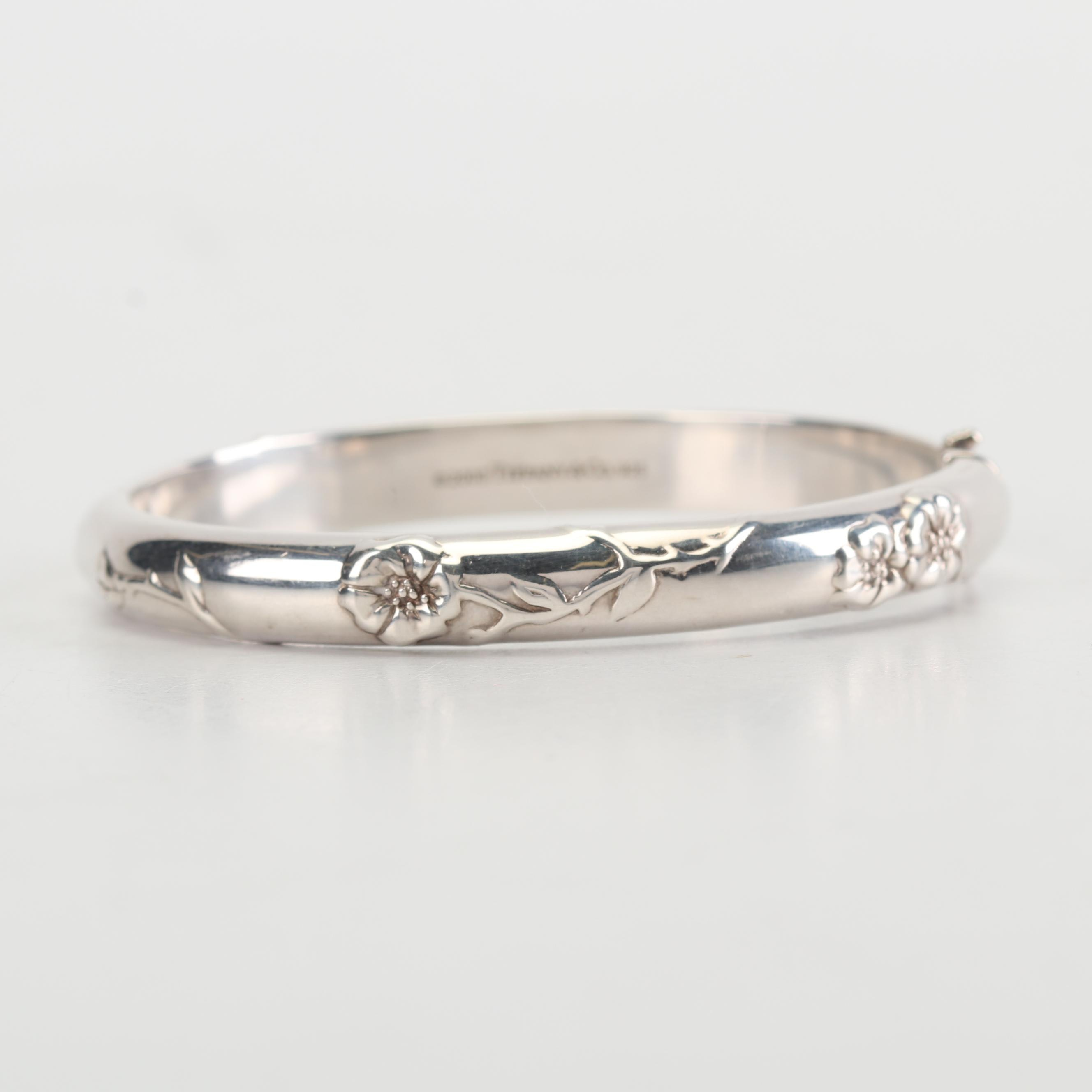 Tiffany & Co. Sterling Silver Floral Bangle
