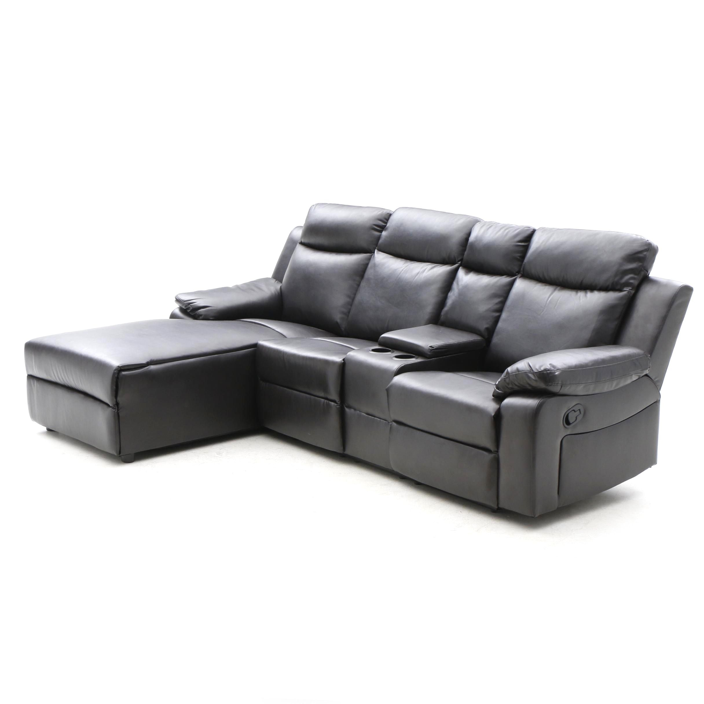 Theater Seating with Chaise Lounge in Black Faux Leather