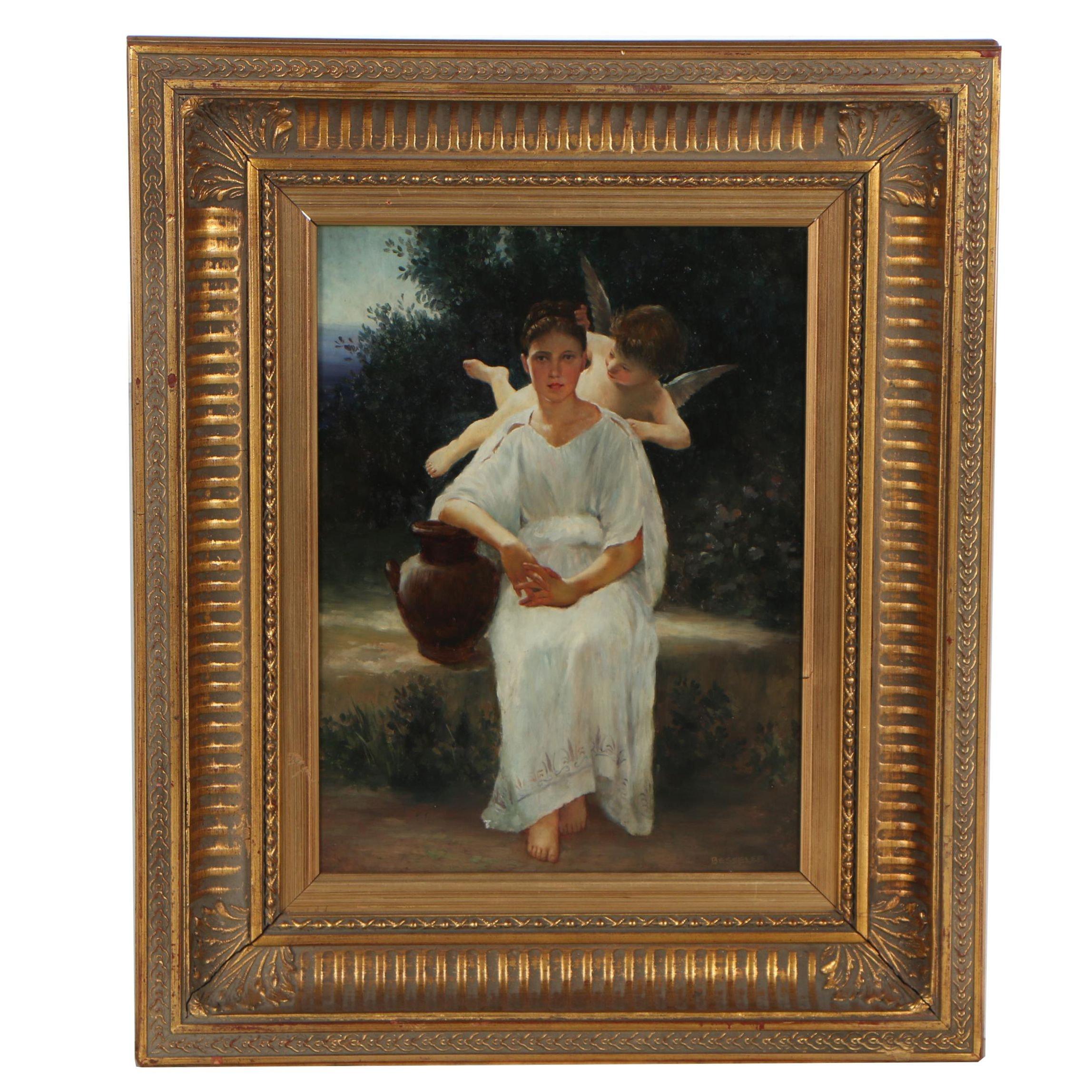 "Besseler Oil Painting After Bouguereau ""Première Rêverie"""