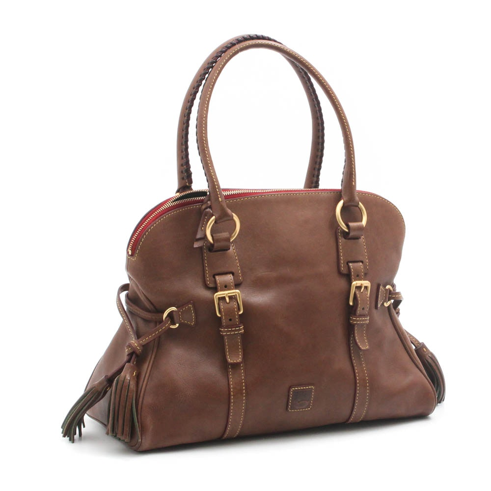 Dooney & Bourke Florentine Leather Satchel with Whipstitched Handles