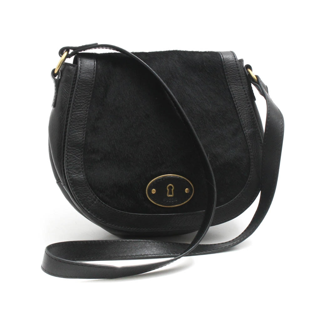 Fossil Black Calfskin and Leather Flap-Front Crossbody
