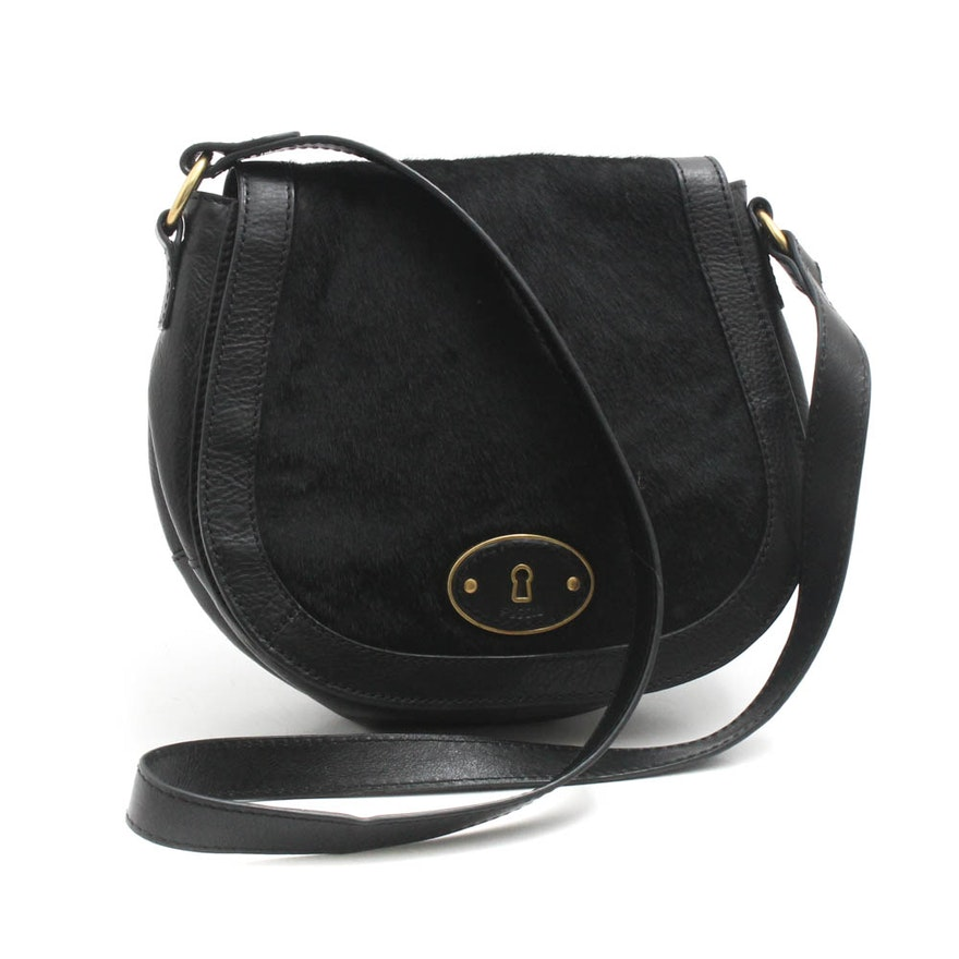 7e7e92e400b6 Fossil Black Calfskin and Leather Flap-Front Crossbody   EBTH
