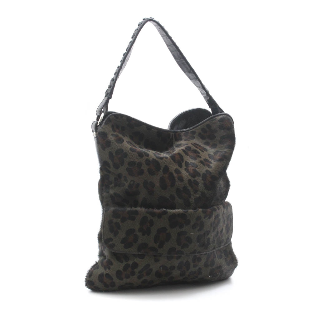 Maurizio Taiuti Dyed Cowhide and Leather Shoulder Bag, Made in Italy