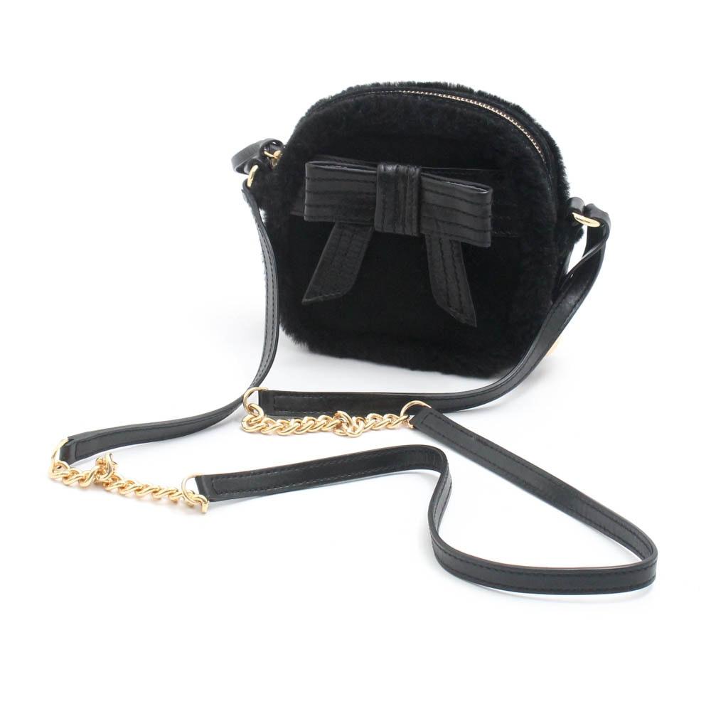 UGG Australia Black Leather and Shearling Crossbody Bag
