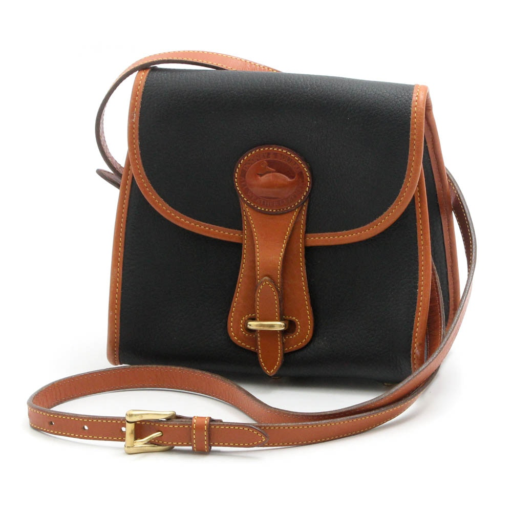 Vintage Dooney & Bourke Pebbled Two-Tone All-Weather Leather Crossbody Bag