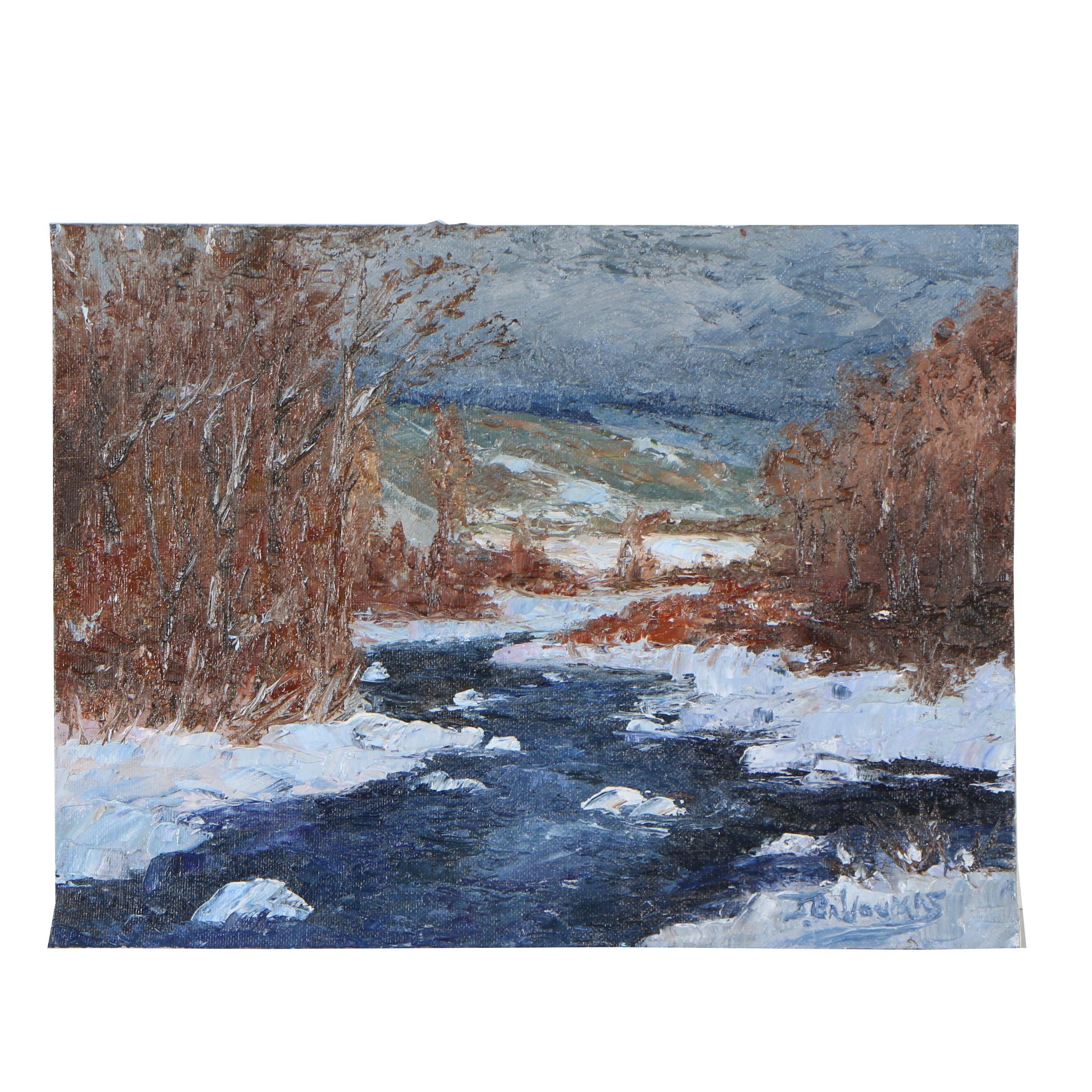 """James Baldoumas Oil Painting """"Winter Stream"""""""