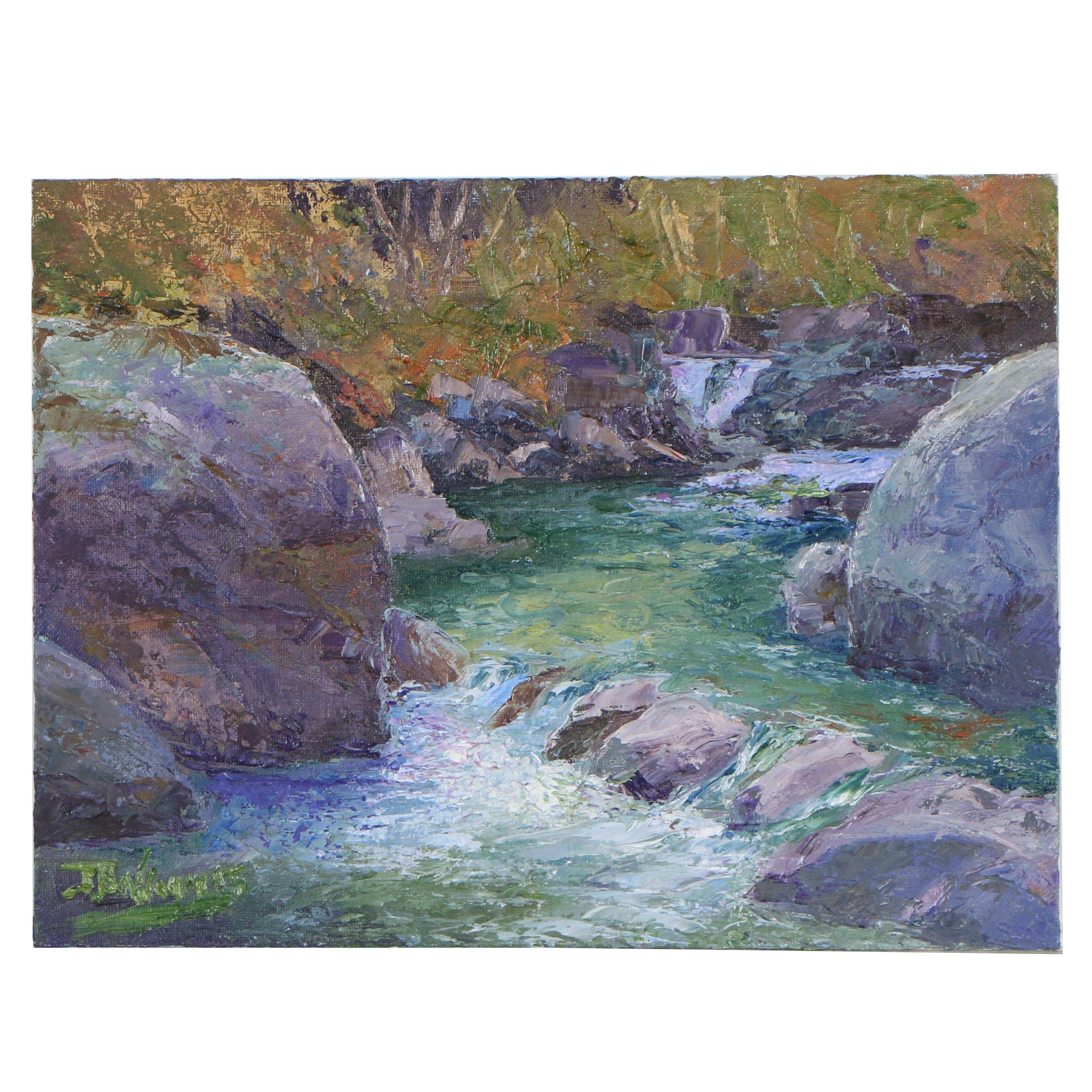 "James Baldoumas Oil Painting ""River & Rocks"""
