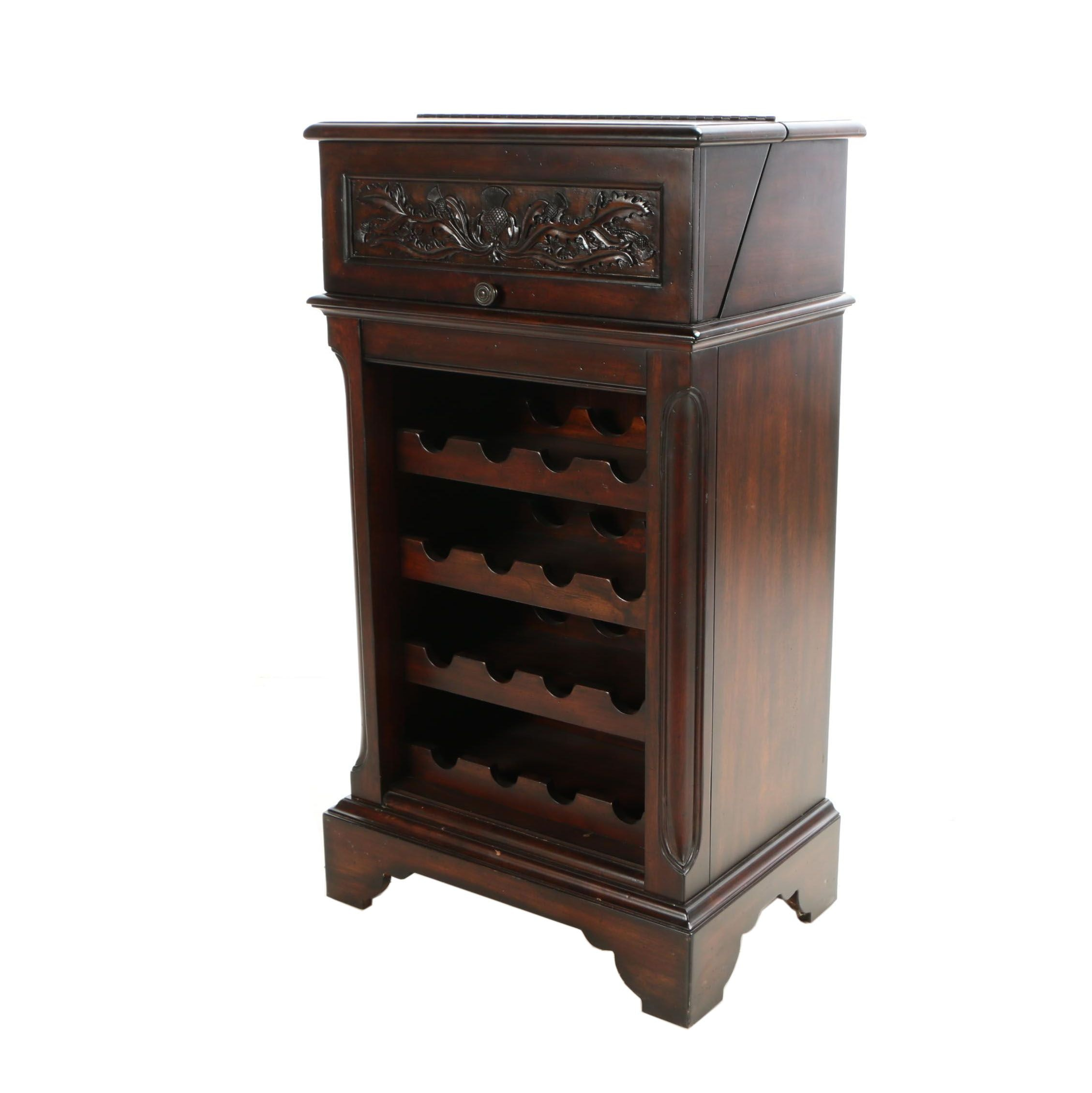 Contemporary Walnut-Stained Wine Cabinet