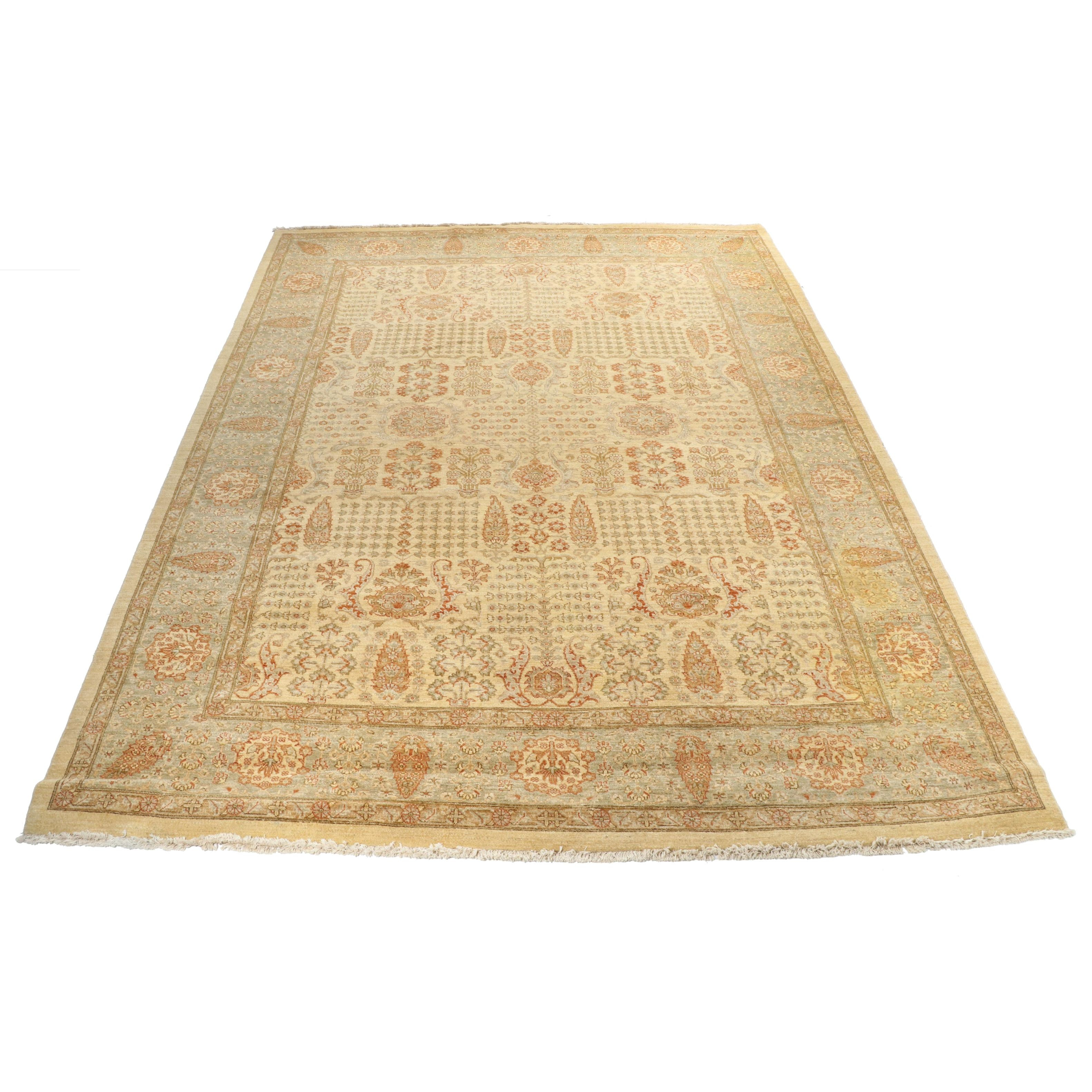 """Hand-Knotted Pakistani """"Mughal"""" Wool Room Sized Rug"""