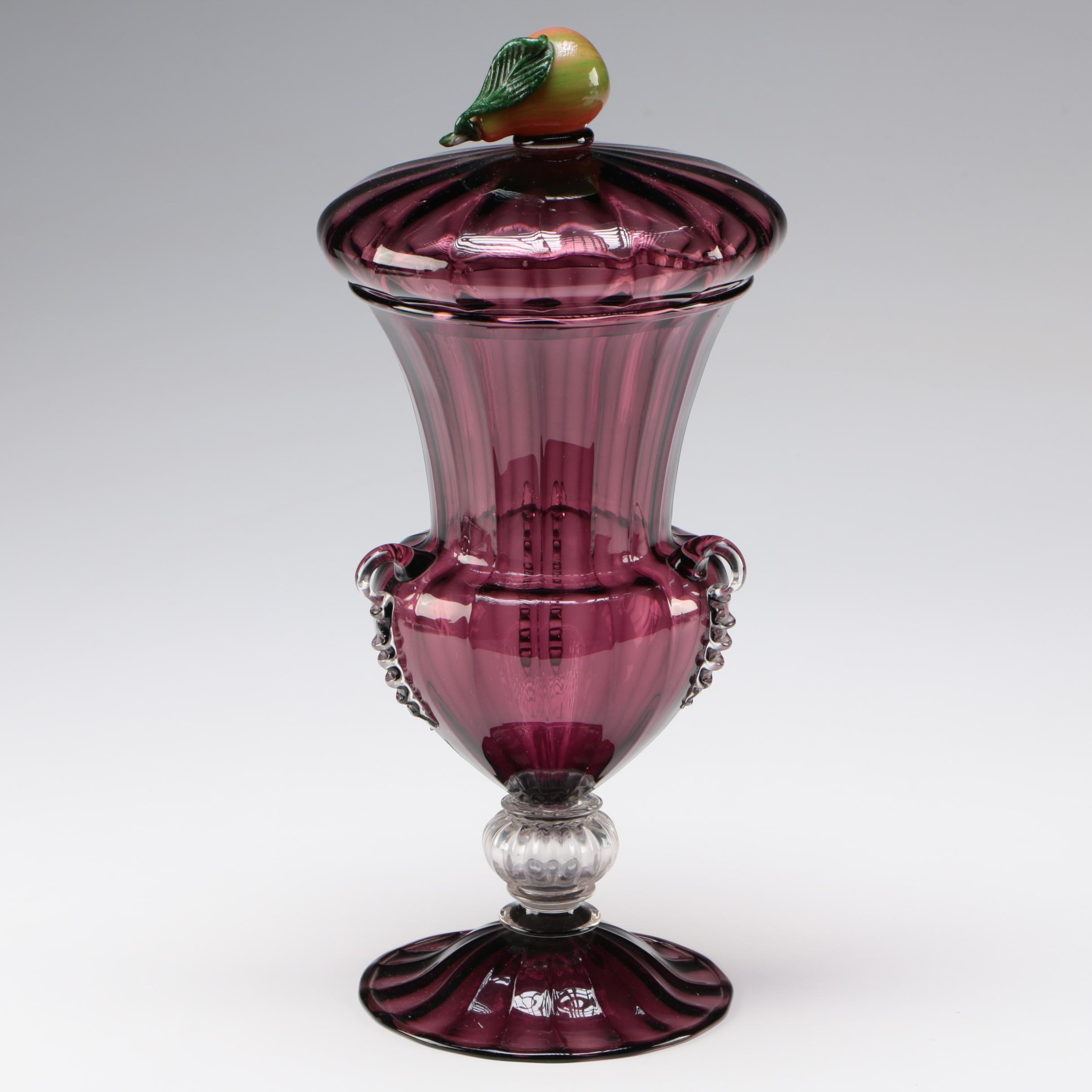 Steuben Amethyst Art Glass Covered Vase, Early 20th Century