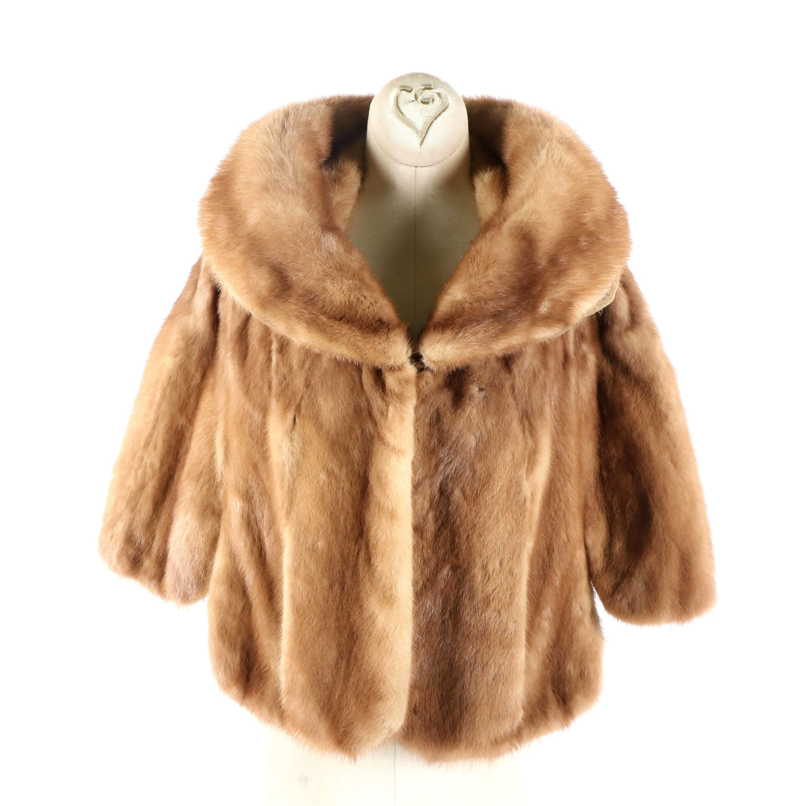 Women's Vintage Maas Brothers of Florida Hooded Mink Fur Capelet