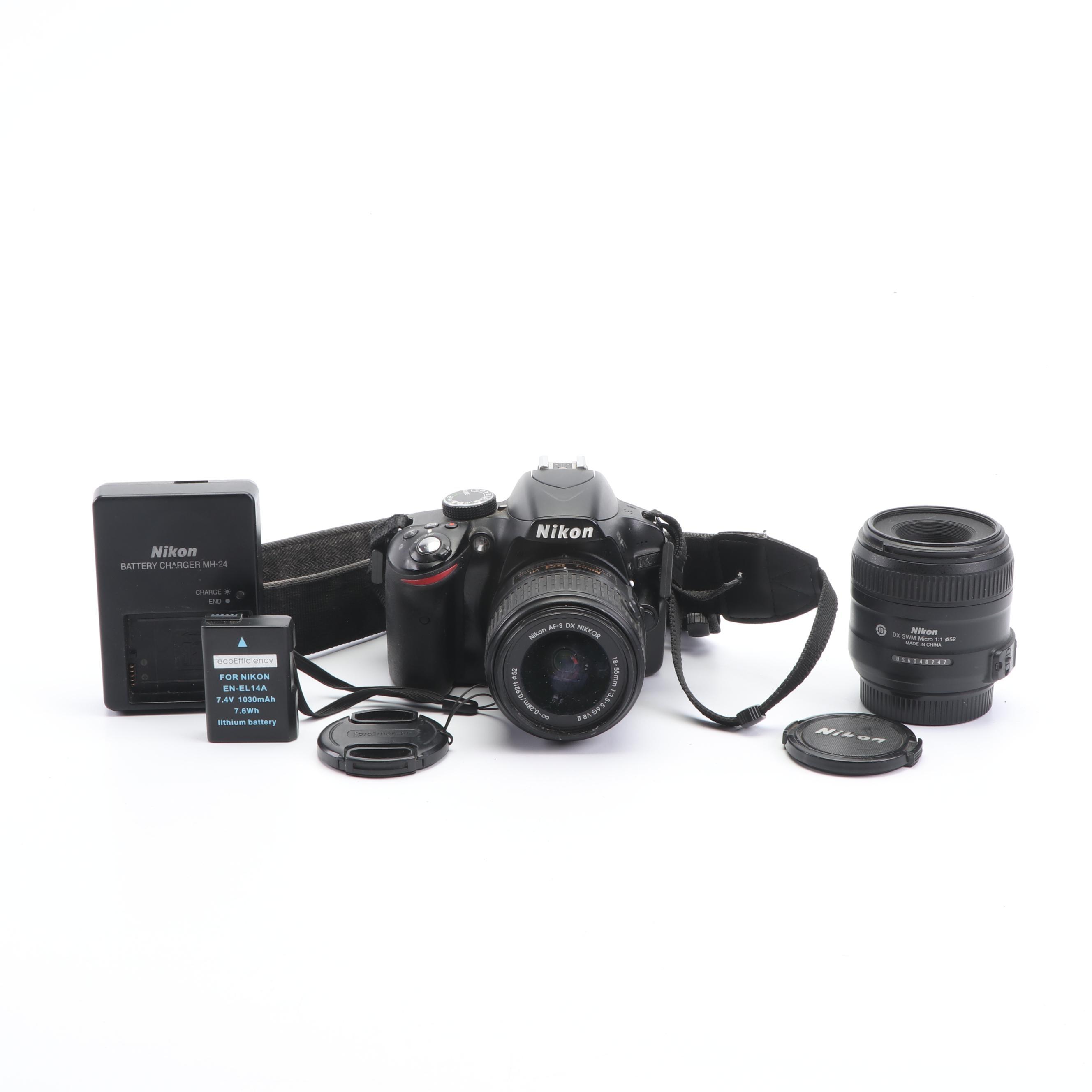 Nikon D3200 DSLR Camera and Lenses