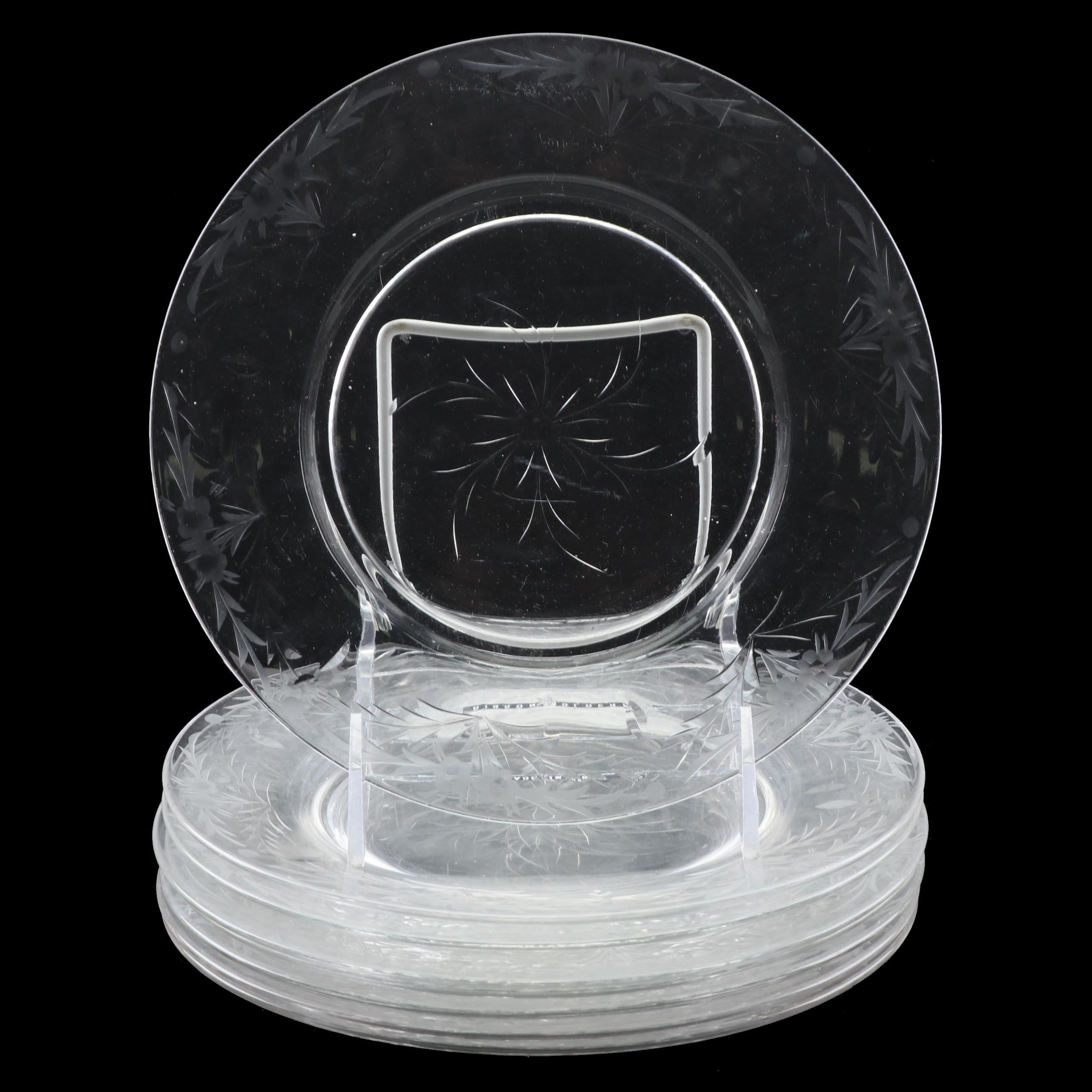 Etched Glass Salad Plates
