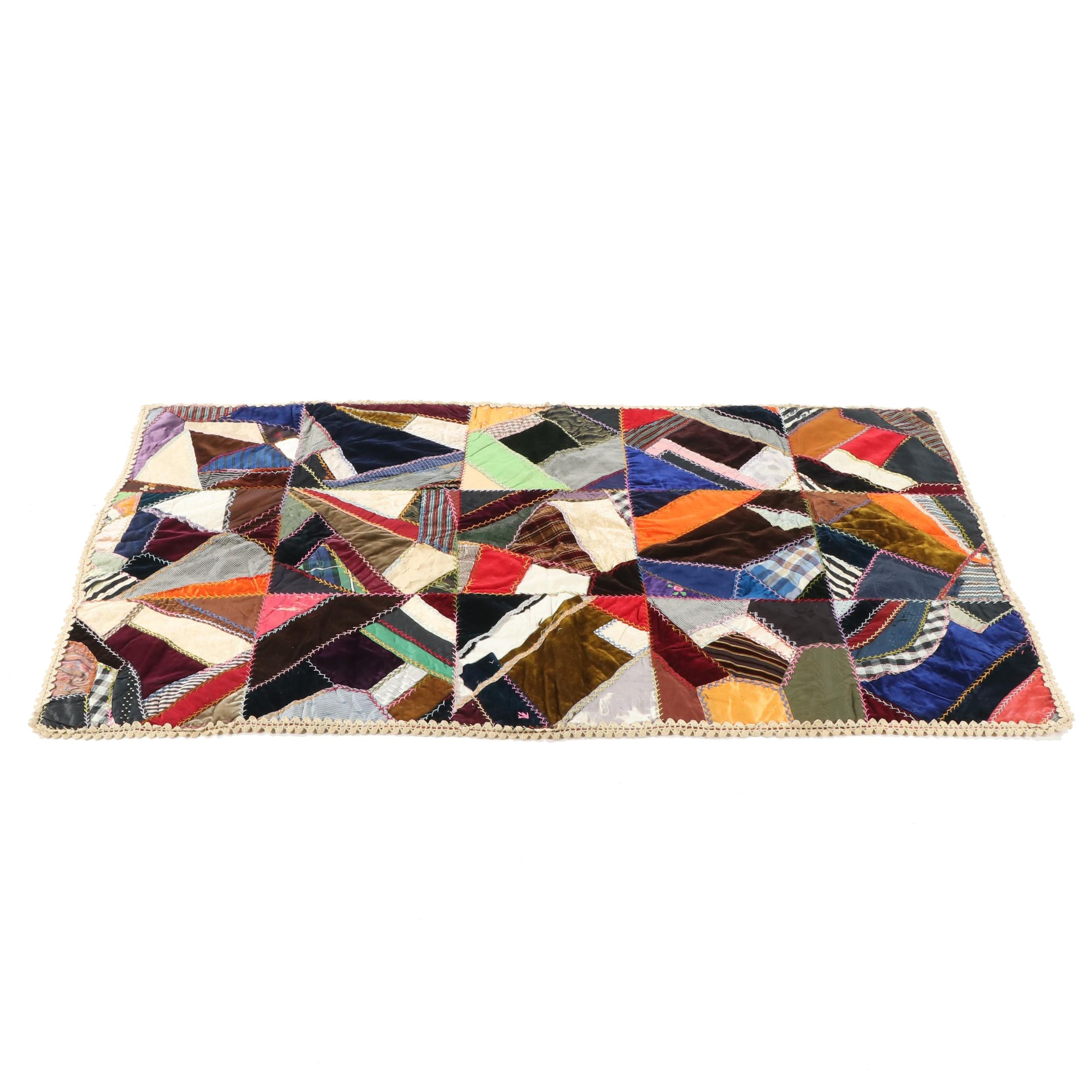 """Handmade """"Crazy"""" Quilt Lap Blanket with Crocheted Fringe, Early 20th Century"""