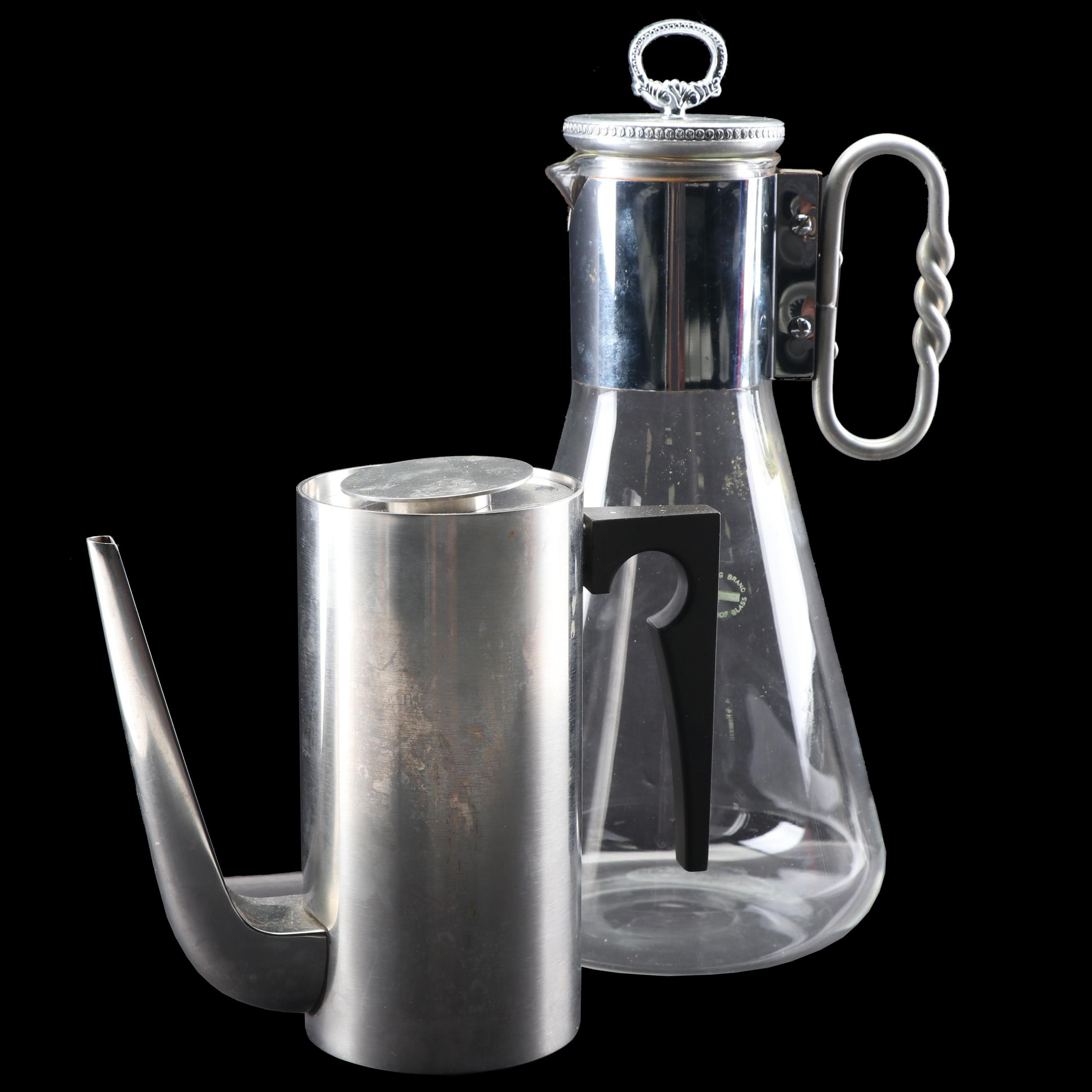 "Stelton ""Cylinda-Line"" Arne Jacobsen Stainless Coffee Pot with Corning Carafe"
