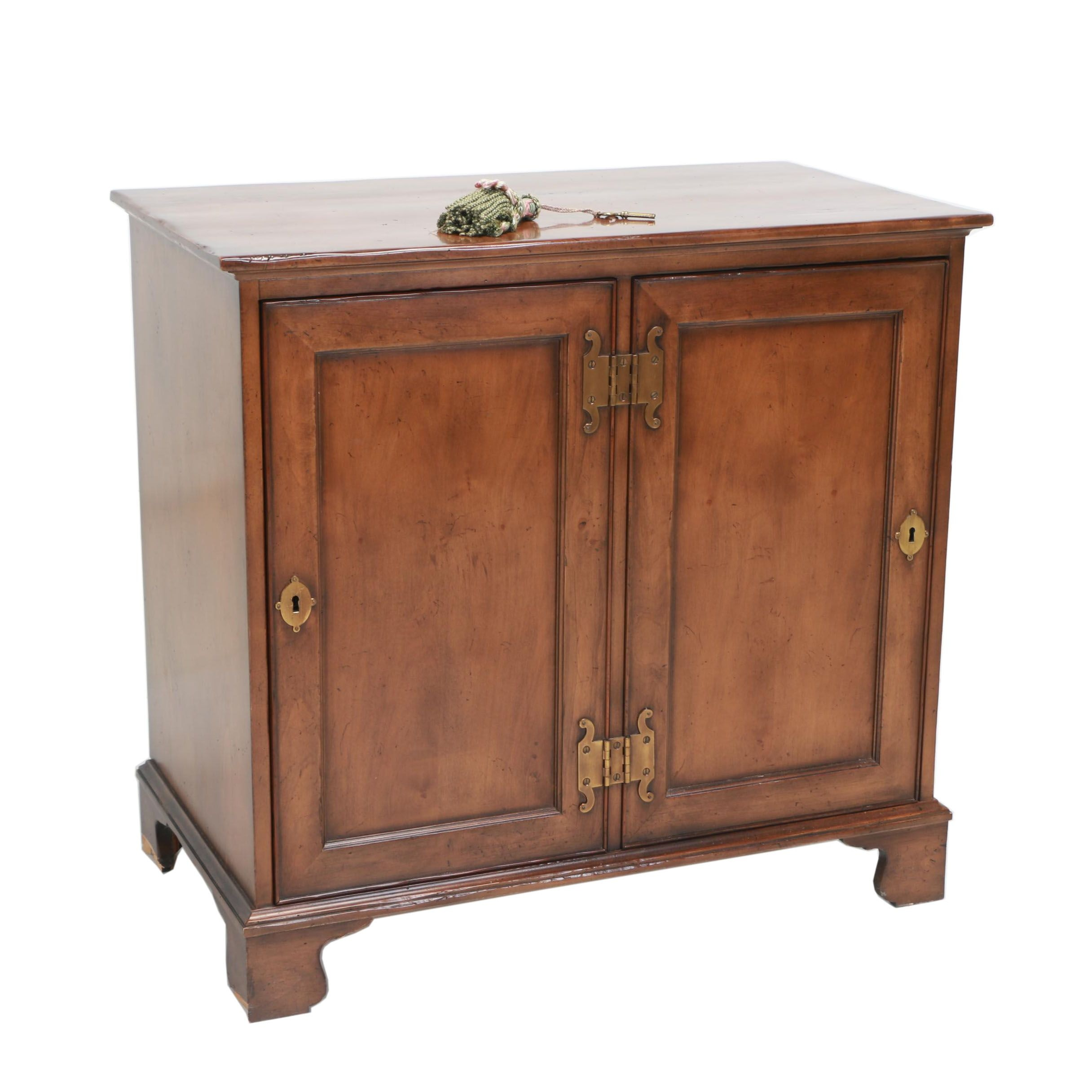 George III Style Walnut-Stained Side Cabinet by Baker Furniture, 20th Century