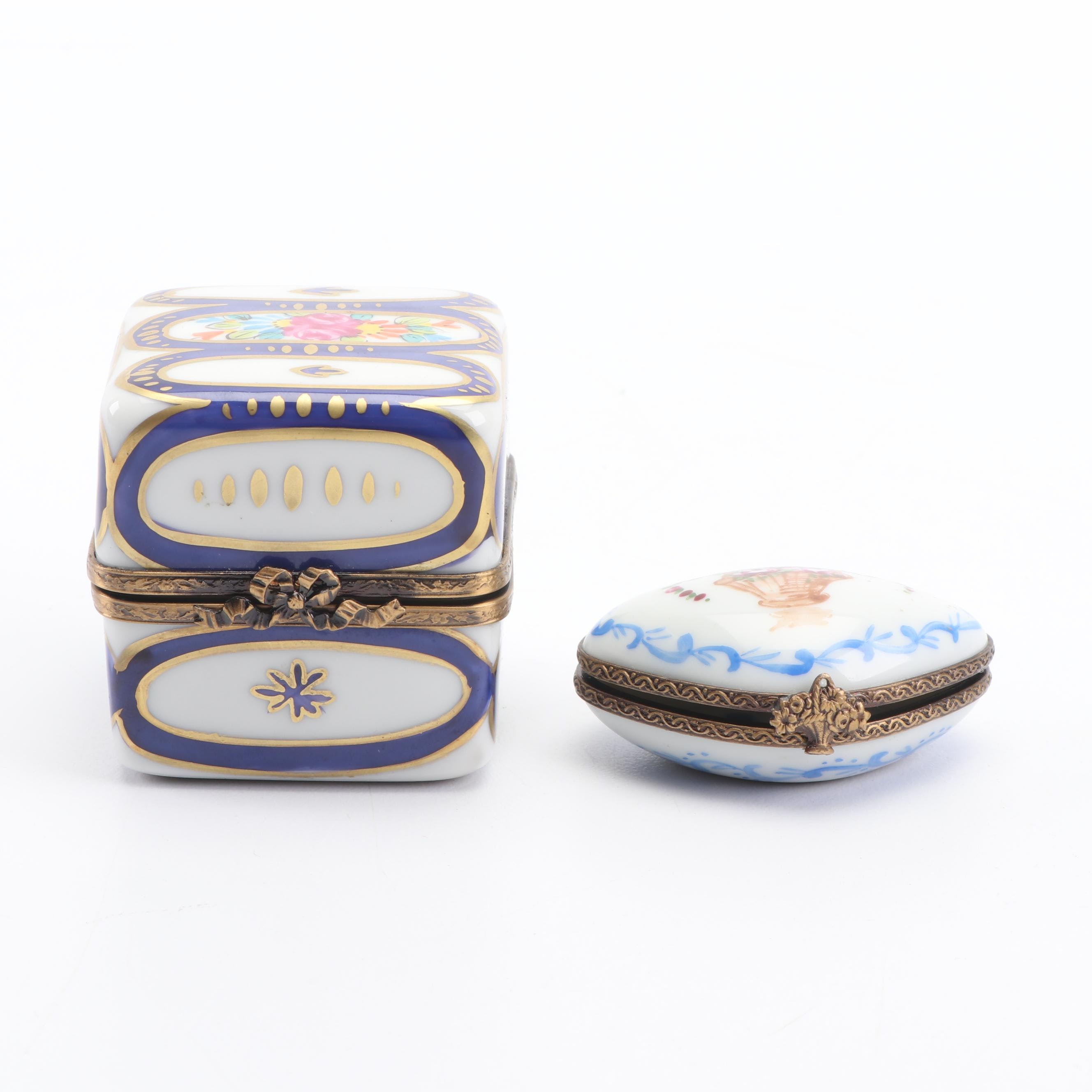Hand-Painted Limoges Porcelain Trinket Boxes Including Eximious