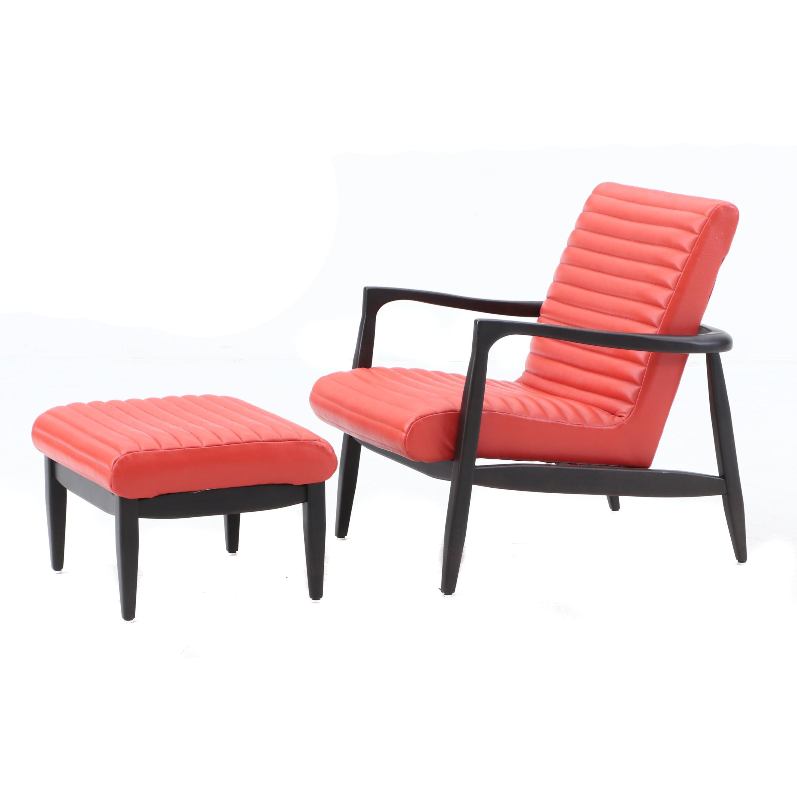 "Modernist ""Charco"" Armchair and Ottoman by Precedent Furniture"
