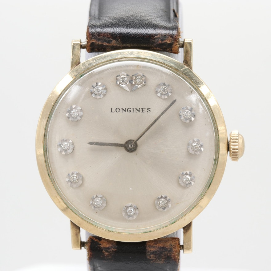 3e4f6de6335 Vintage Longines Admiral 10K Gold Filled Wristwatch With Diamond Dial